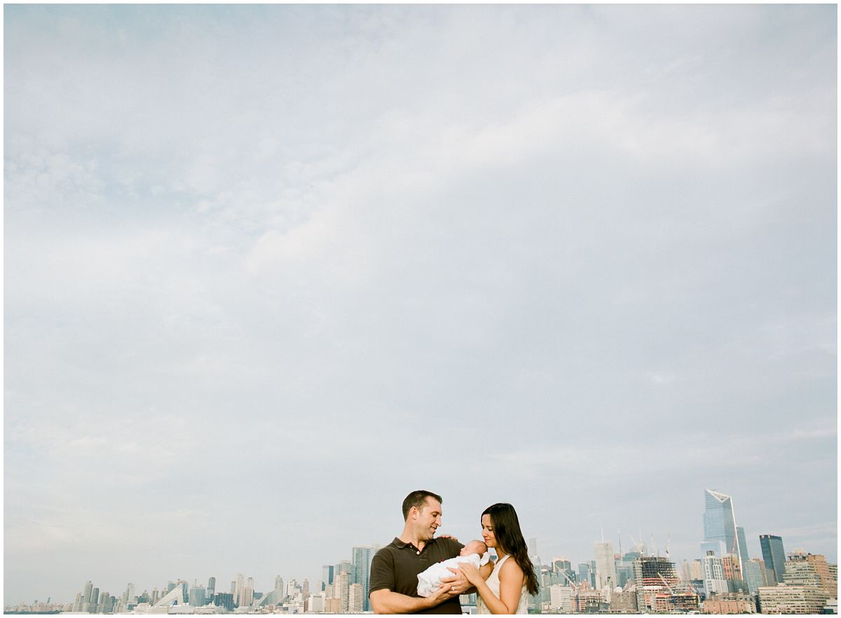 newborn photography in Hoboken NJ against the NYC Skyline