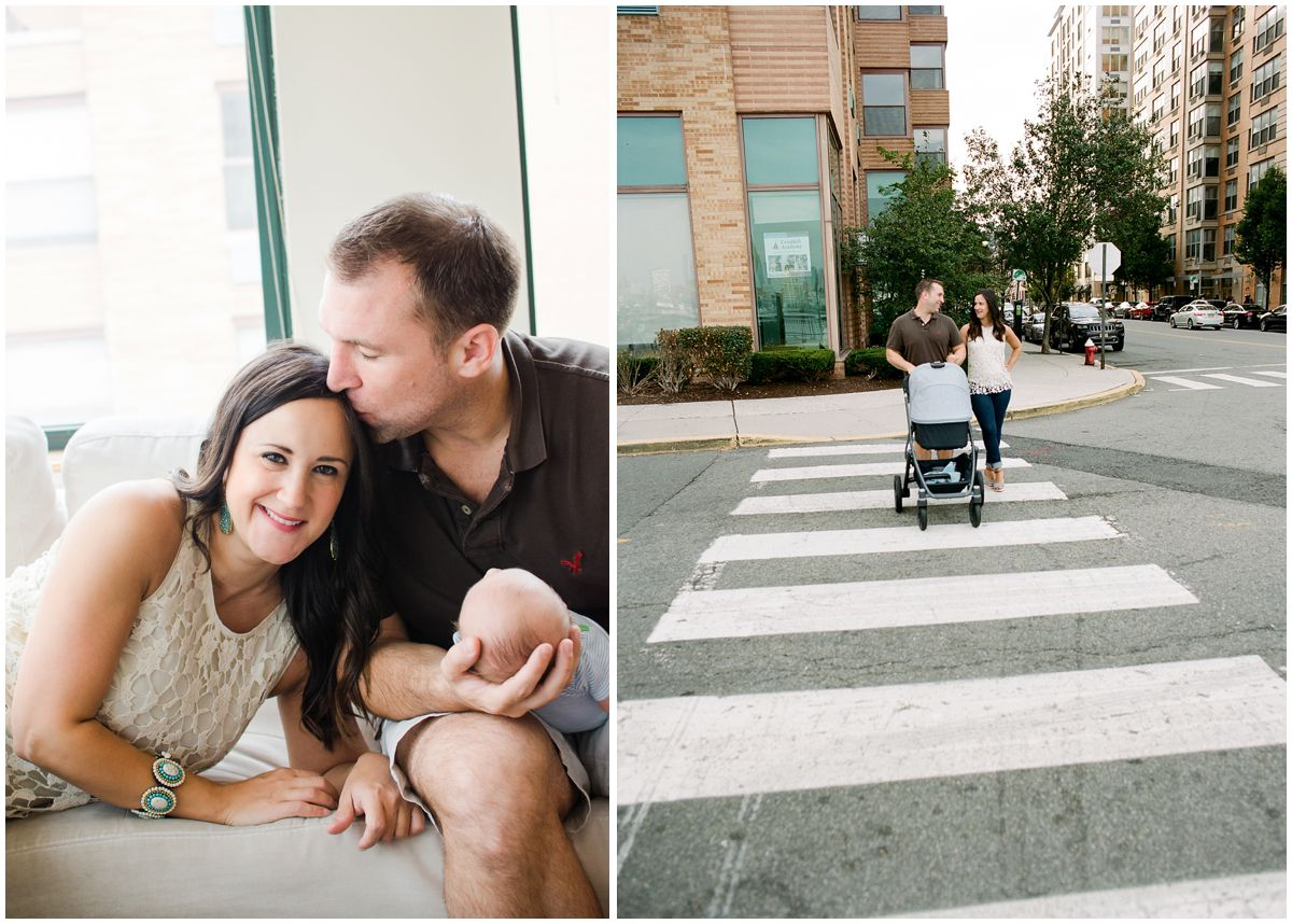 a couple sharing a kiss and crossing the crossroad with baby in the stroller in Hoboken NJ