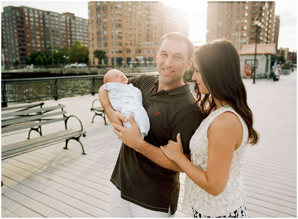 Newborn photography session when mom and dad went for a stroll at Hoboken Waterfront during sunset time