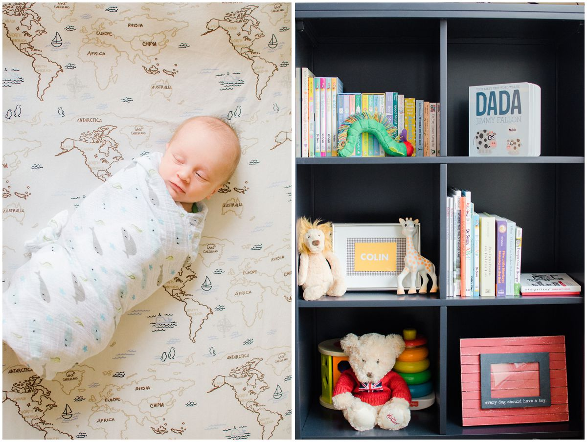 newborn baby boy laying in his decorative nursery and looking at his book collection in Hoboken NJ