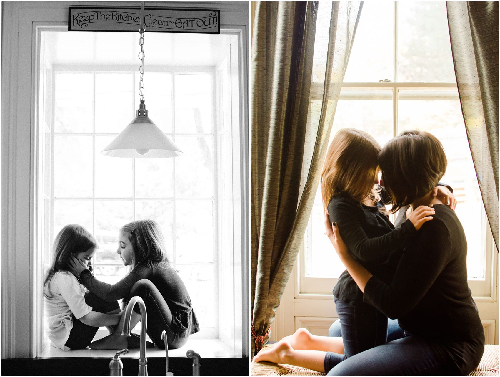 a sweet moment between two sisters and mom by the kitchen window of their Woodcliff Lake, NJ home