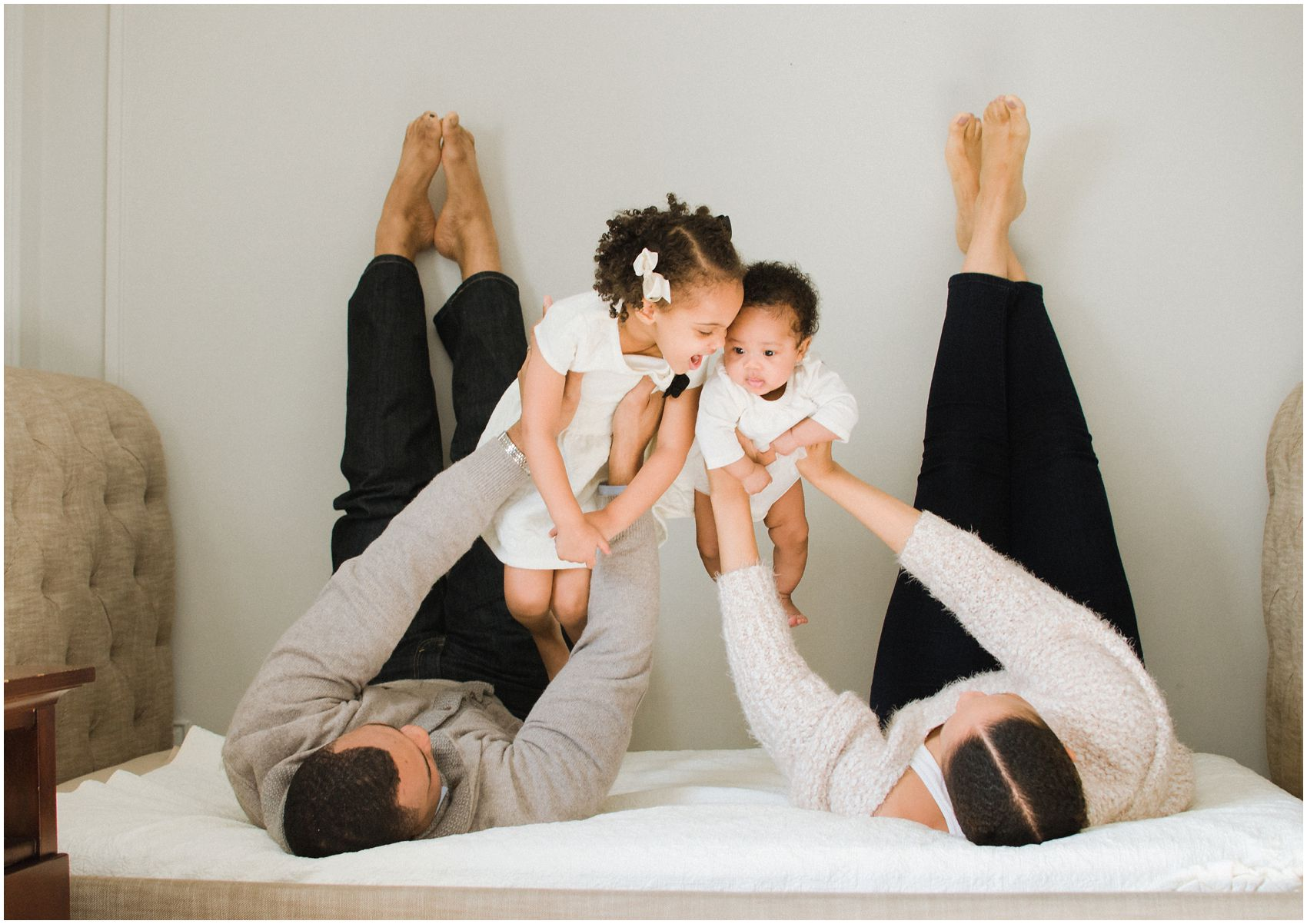 lifestyle family photos with two little girls in Manhattan NY