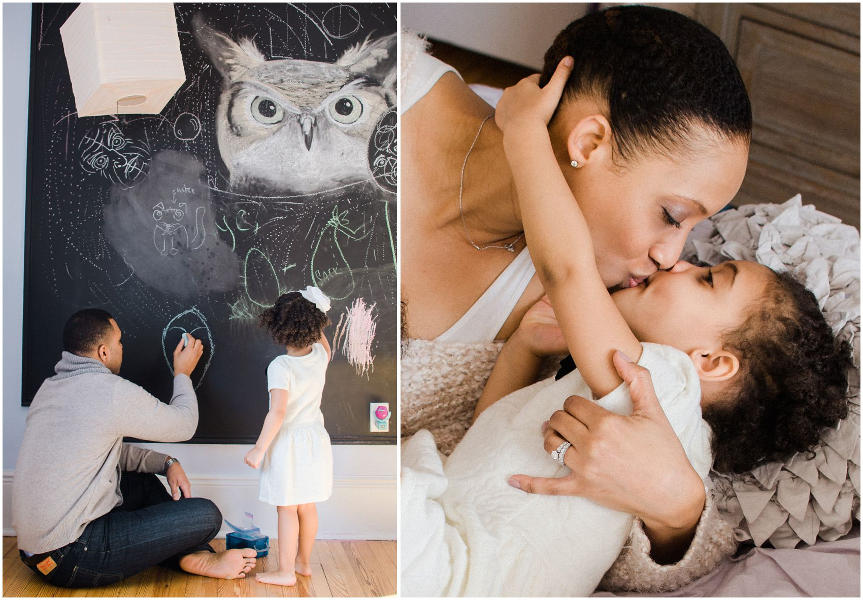 mother daugher kisses and fun with daddy during the photo session at NY home