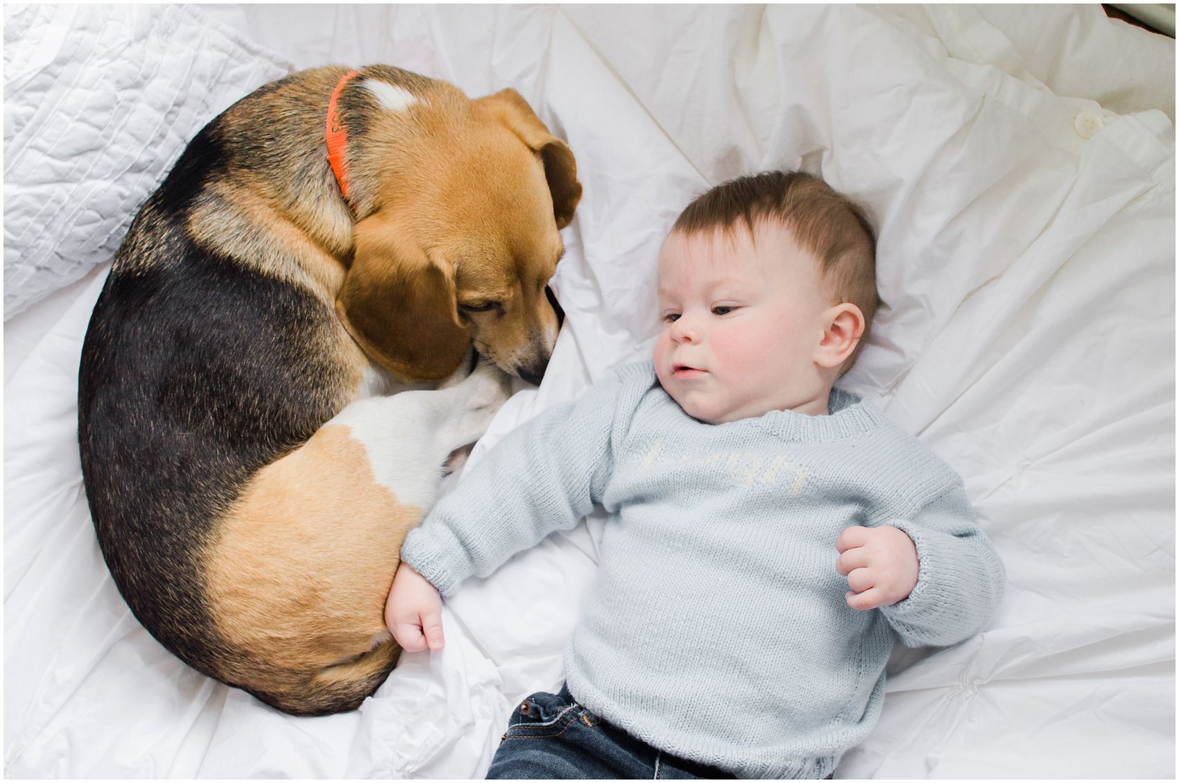 snuggle time with the baby boy and the cozy dog