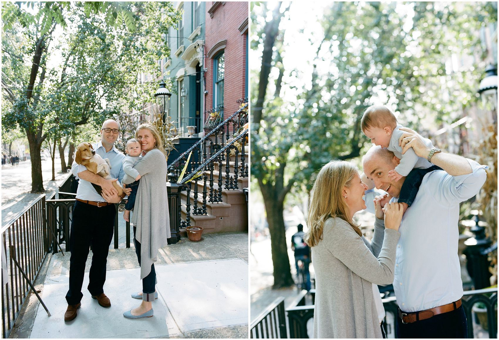 mom and dad laughing at the family portrait with the dog and the baby in NYC