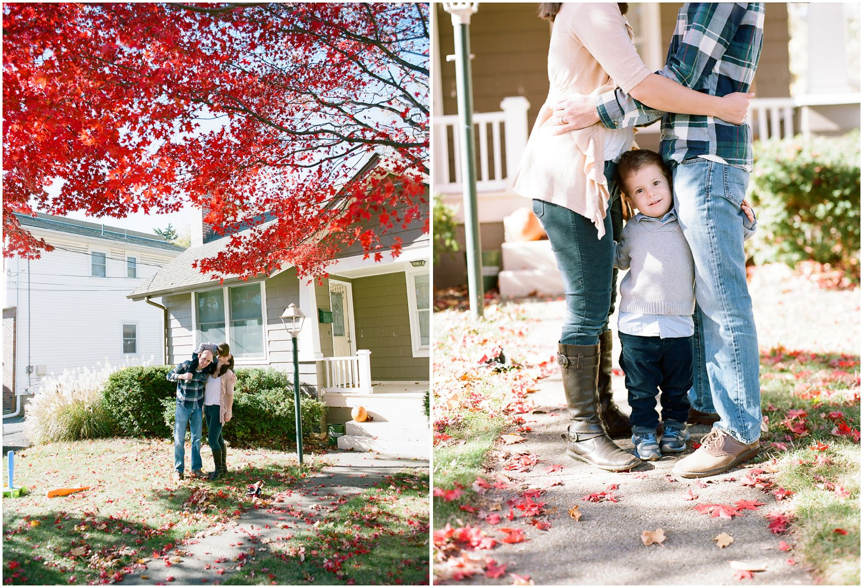 Mom and dad hugging little boy in Family photography fall season with beautiful foliage in front of the house in NYC