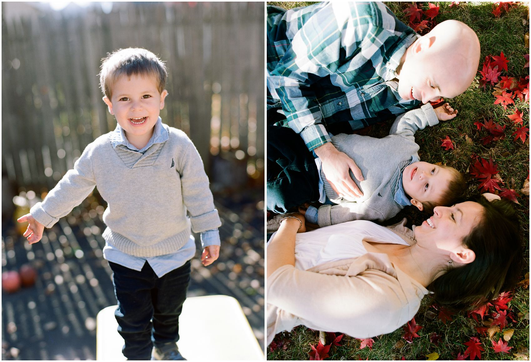 fall family portraits with happy parents and little boy having fun in front of their home in New York