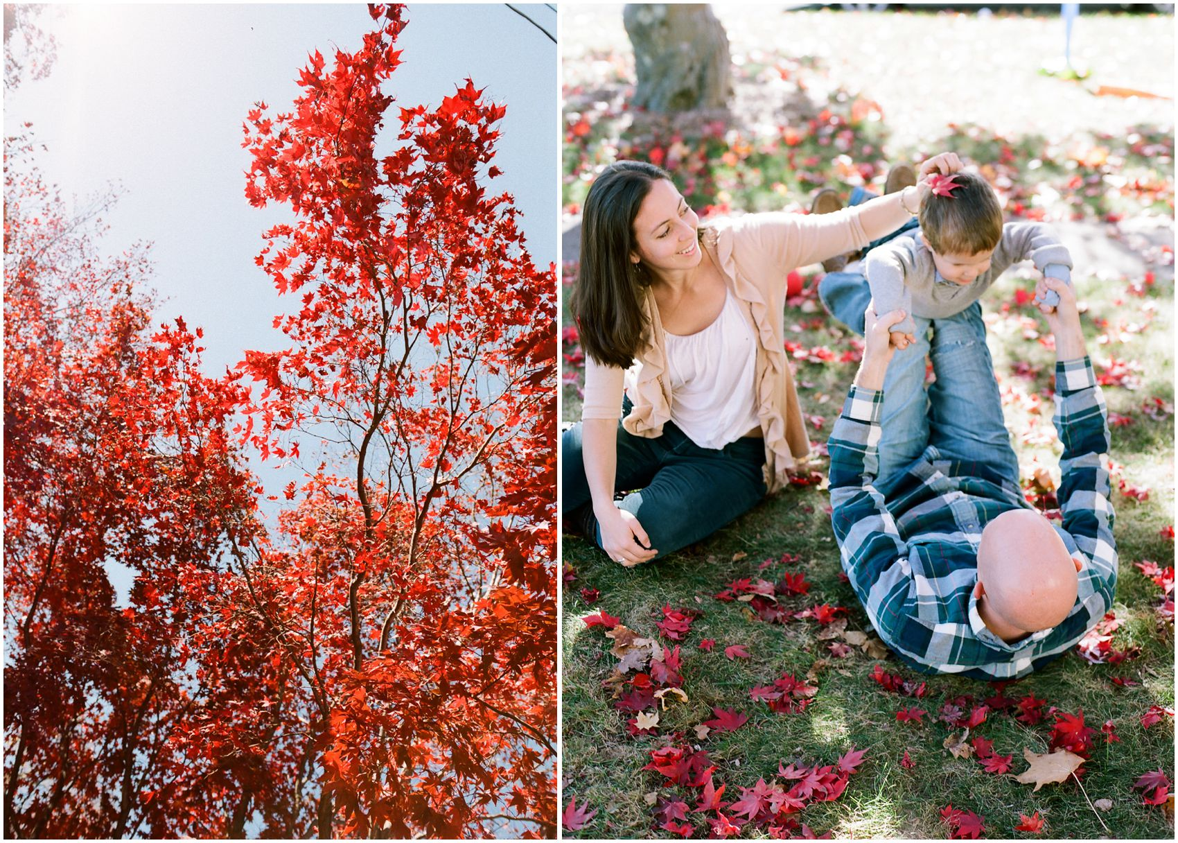 Family Photographer Miriam Dubinsky shares best location for fall family portraits with parens having fun on the ground with leaves