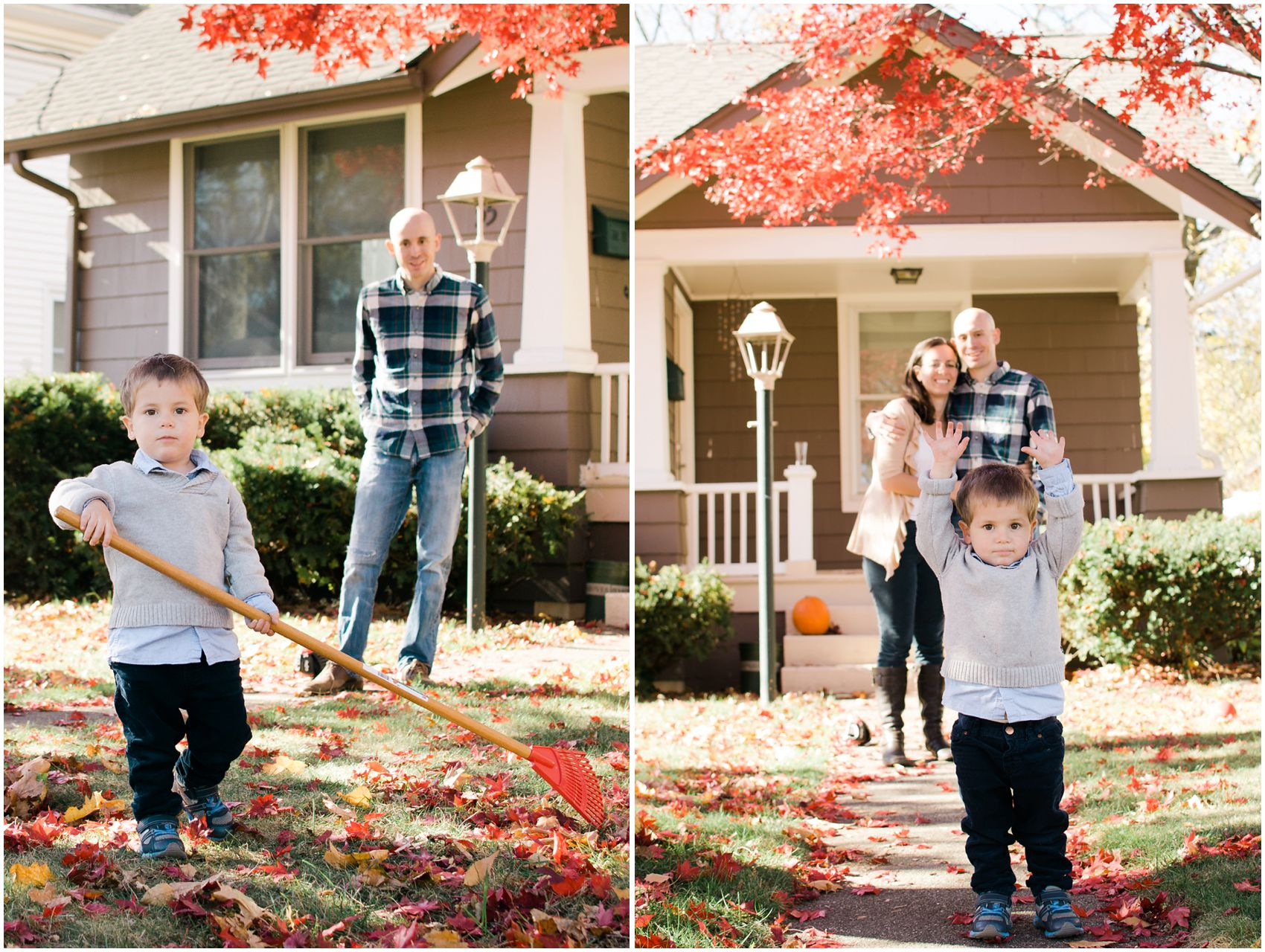 Family photographer Miriam Dubinsky shares the best place for fall family portraits with a family raking leaves and smiling