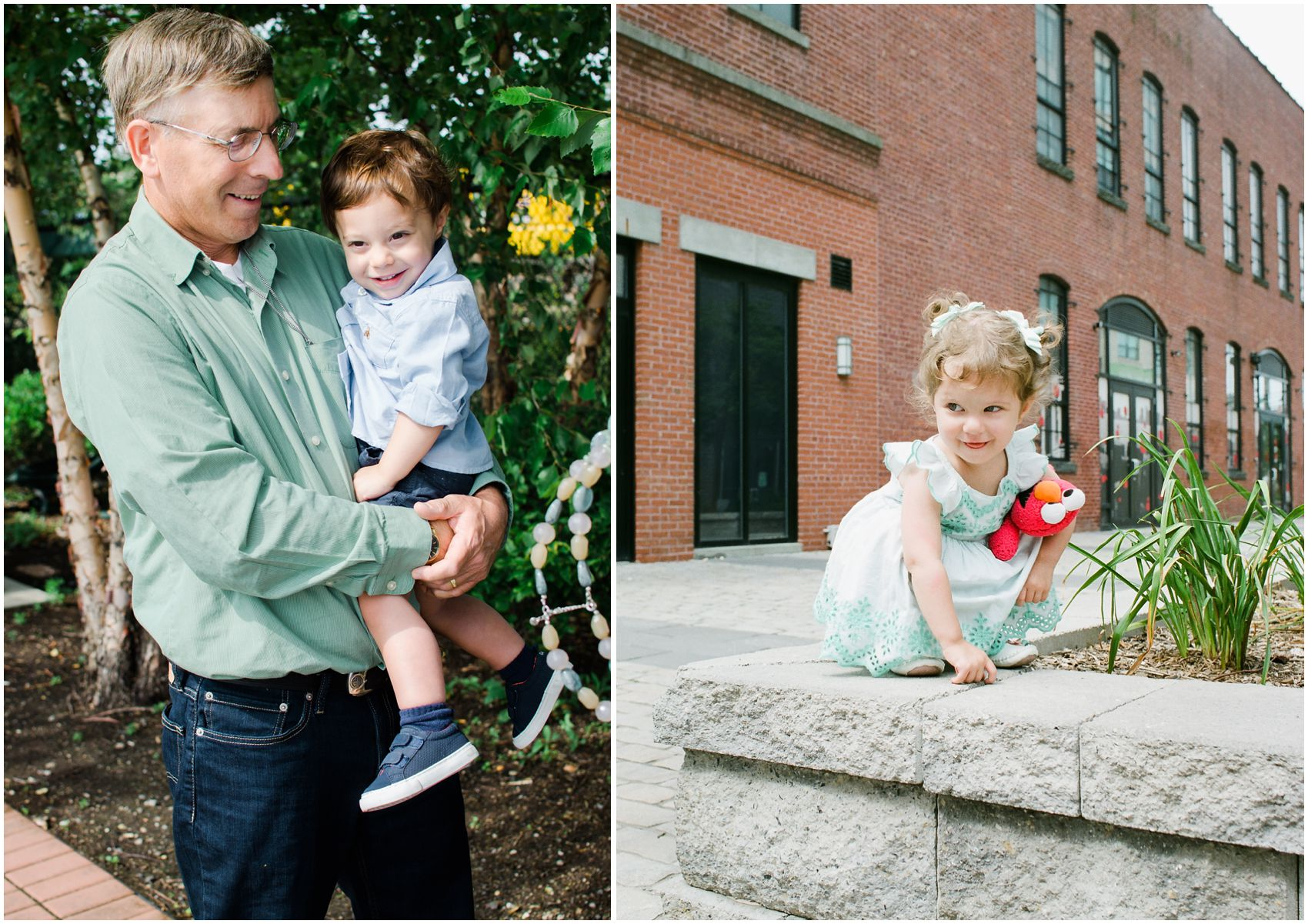 grandfather holding his grandson and granddaughter by the architecture of Hoboken NJ