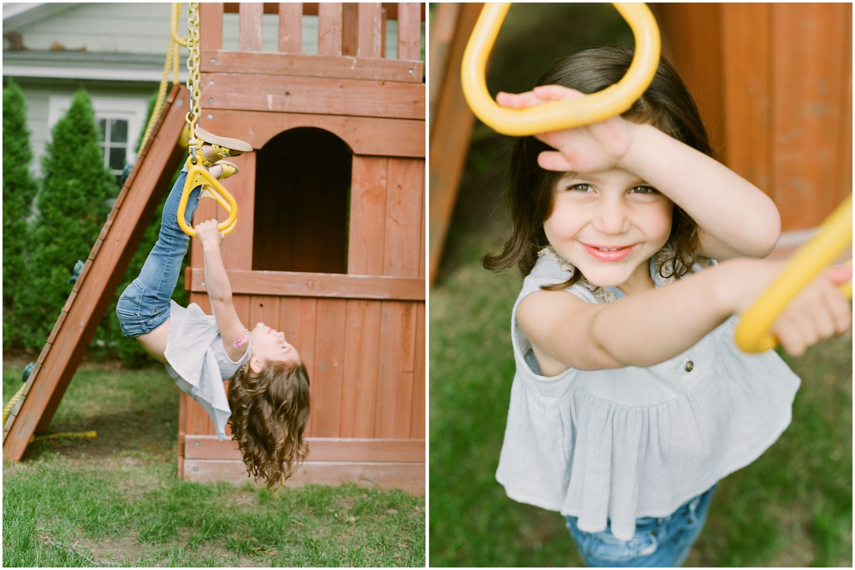 little girl wearing jeans and playing on the yellow swings of her Montclair NJ backyard