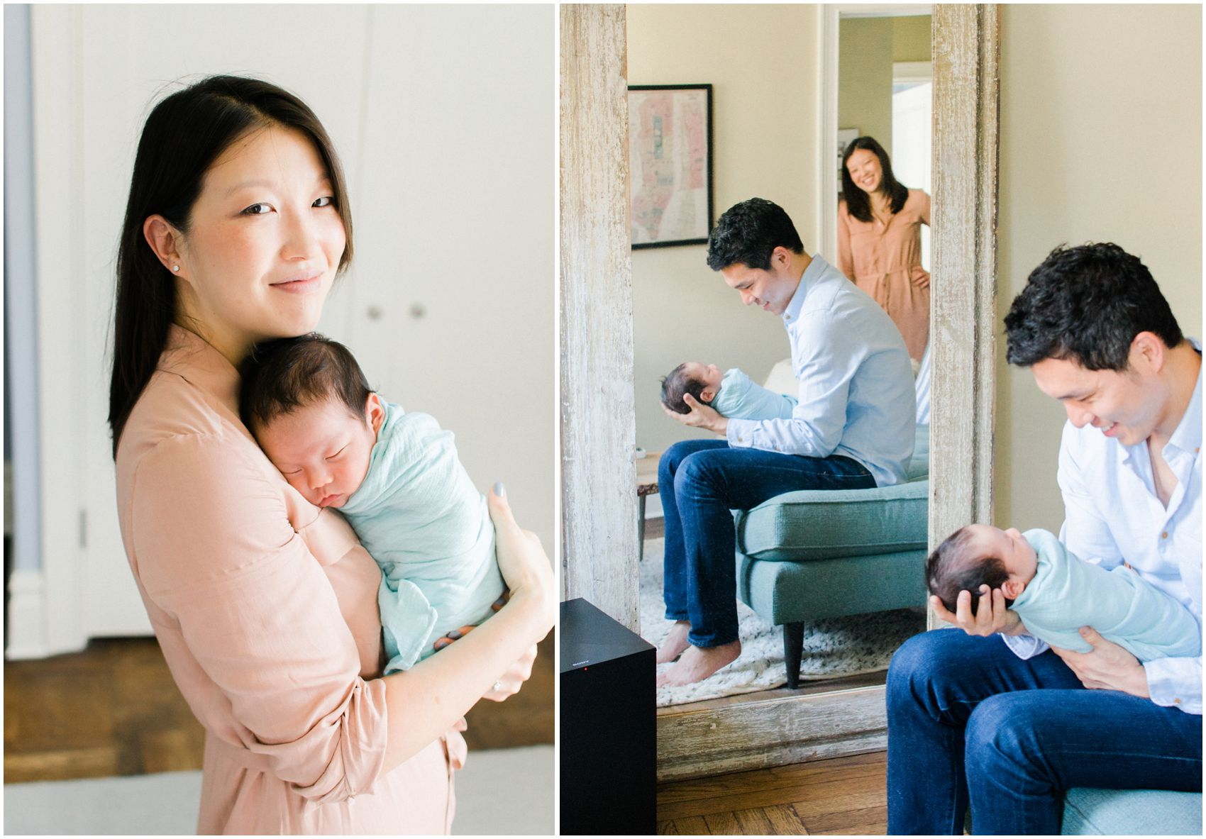 mom wearing neutral rose color dress for newborn photos in NYC