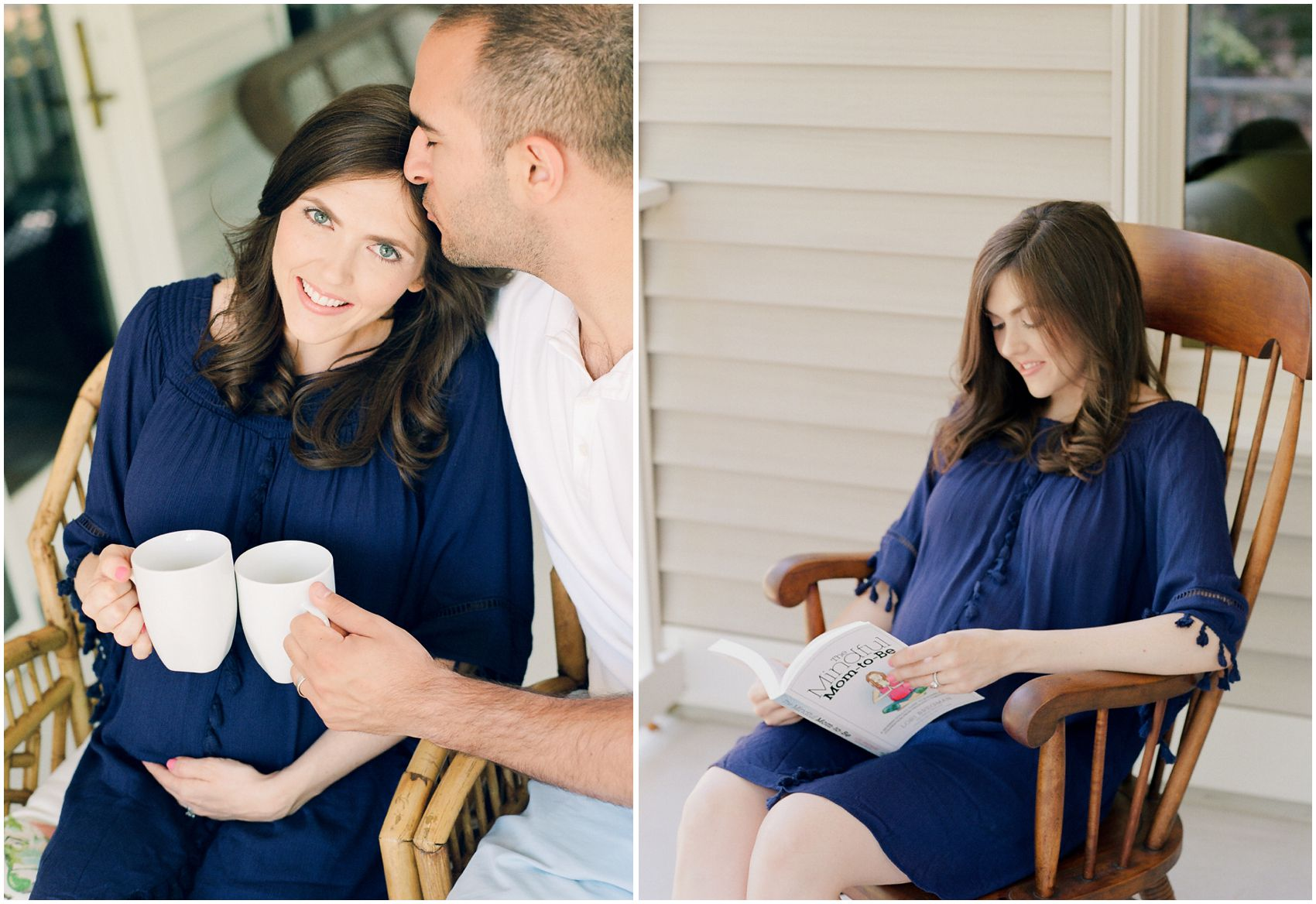 NYC maternity photography with pregnant mom wearing a gorgeous blue maternity dress