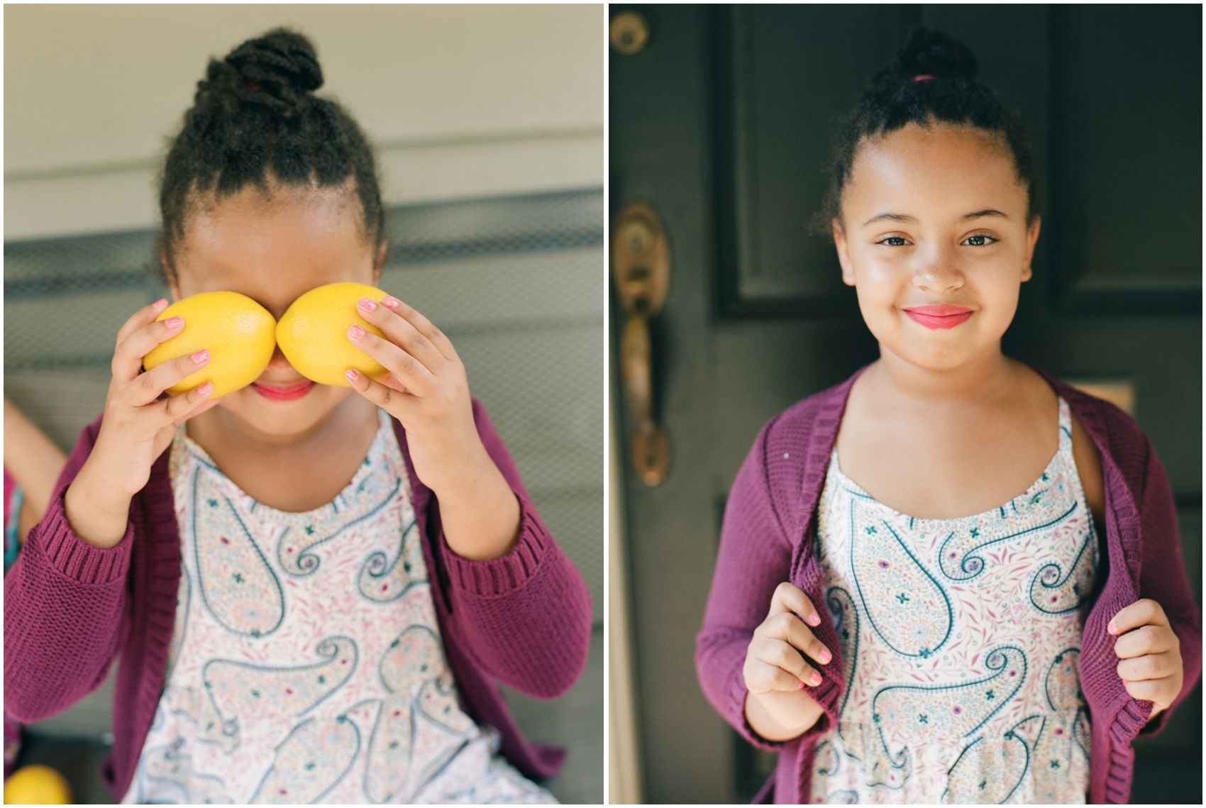 little girl posing for family photos and holding lemons