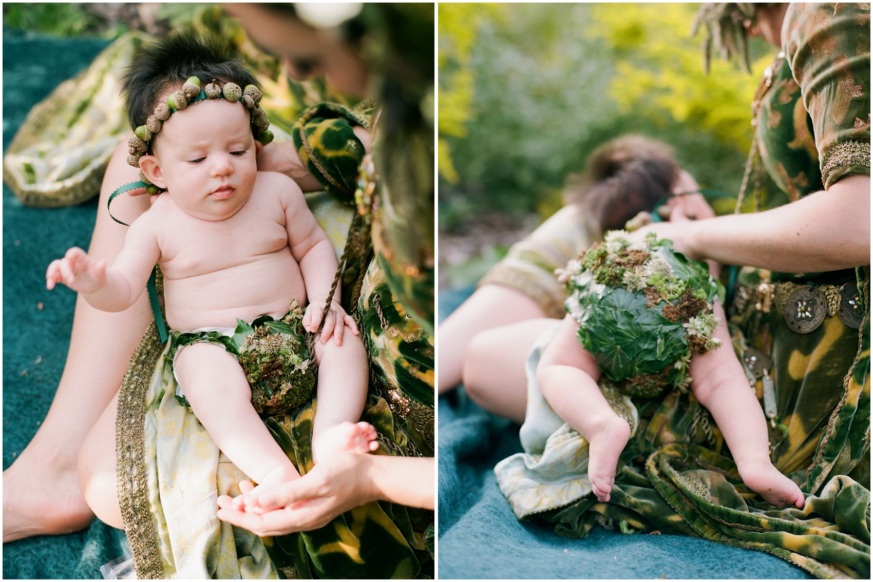cutest baby with floral wreath and floral baby cover