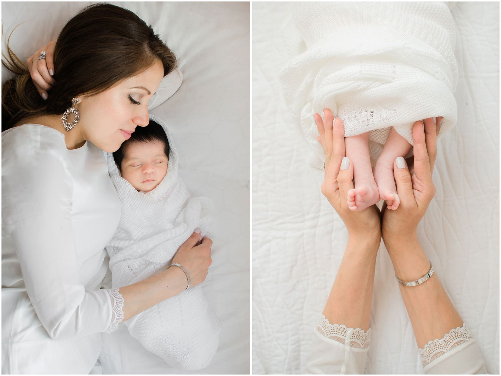 Elegant newborn photography with a mom is cuddling with her baby girl and holding her baby toes