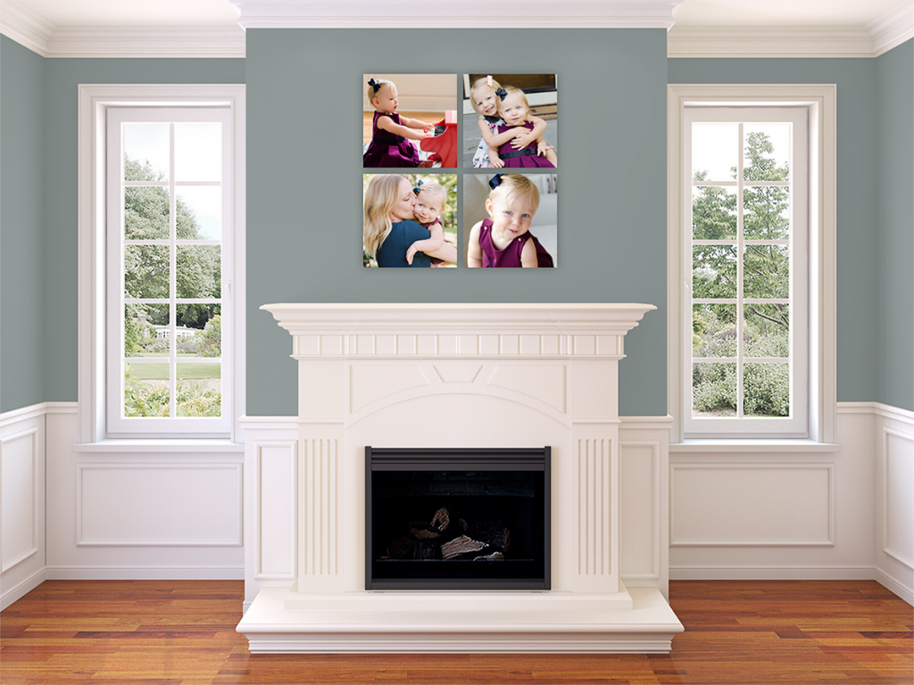 NYC family photographer Miriam Dubinsky shares five gift ideas for Father's Day showing a wall art on family wall in NJ