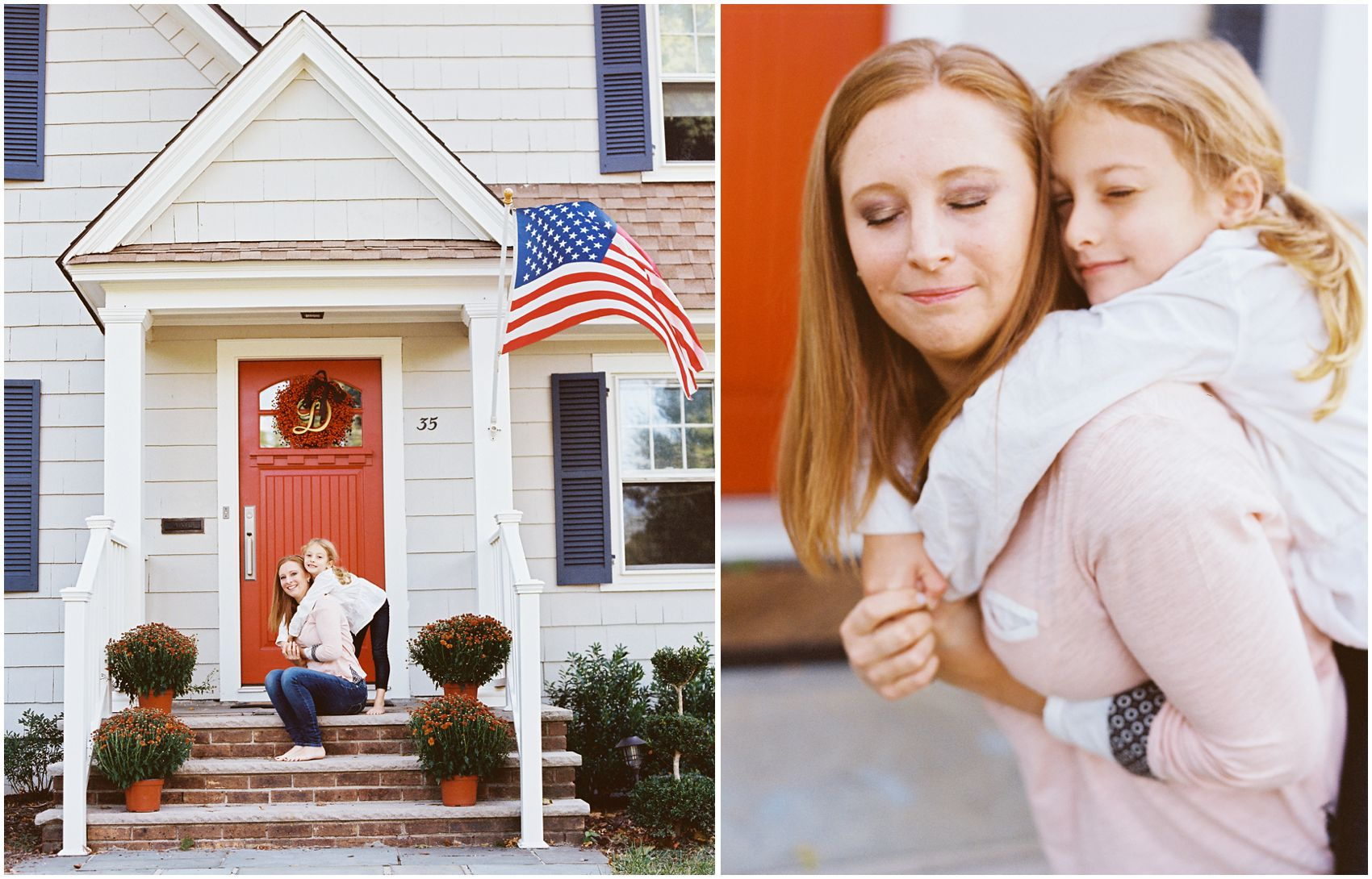 mom hugging her daughter in front of the home with American flag