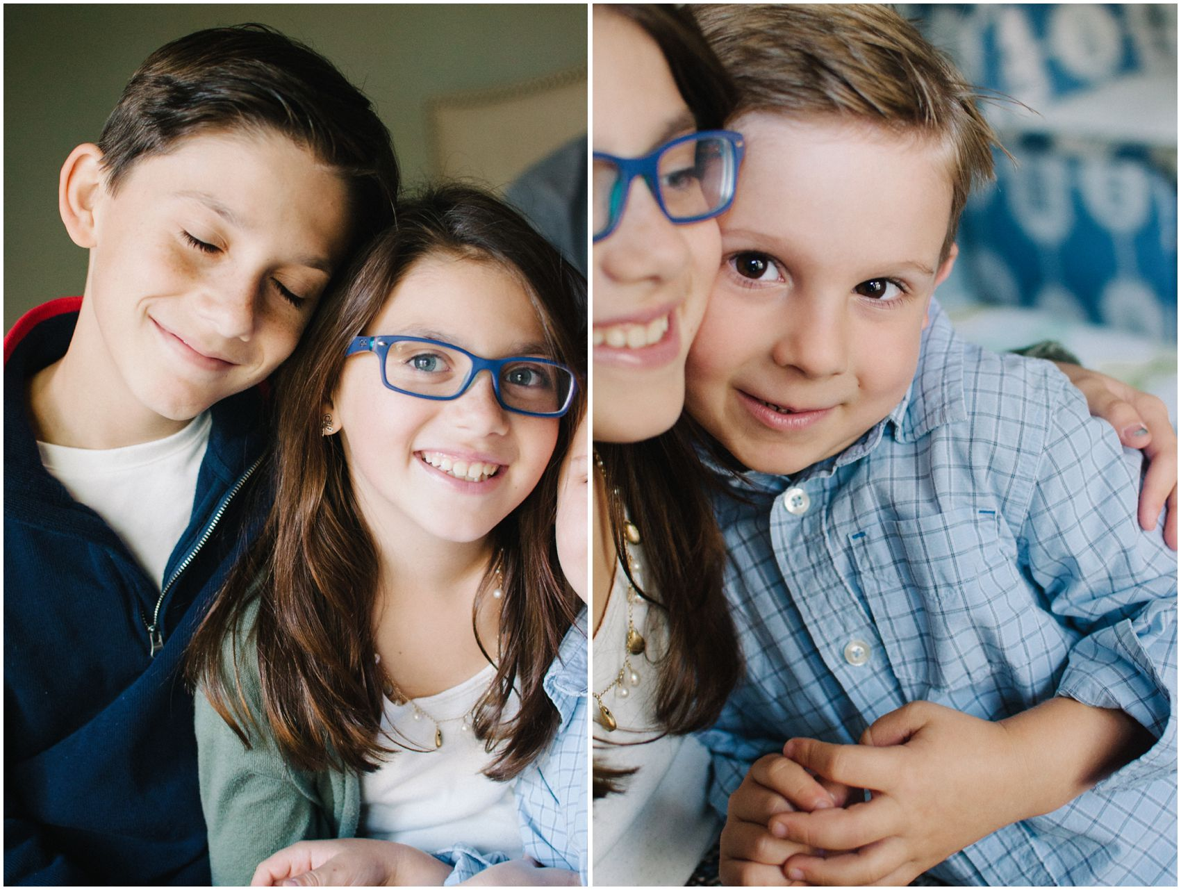 siblings hugging each other for family photos