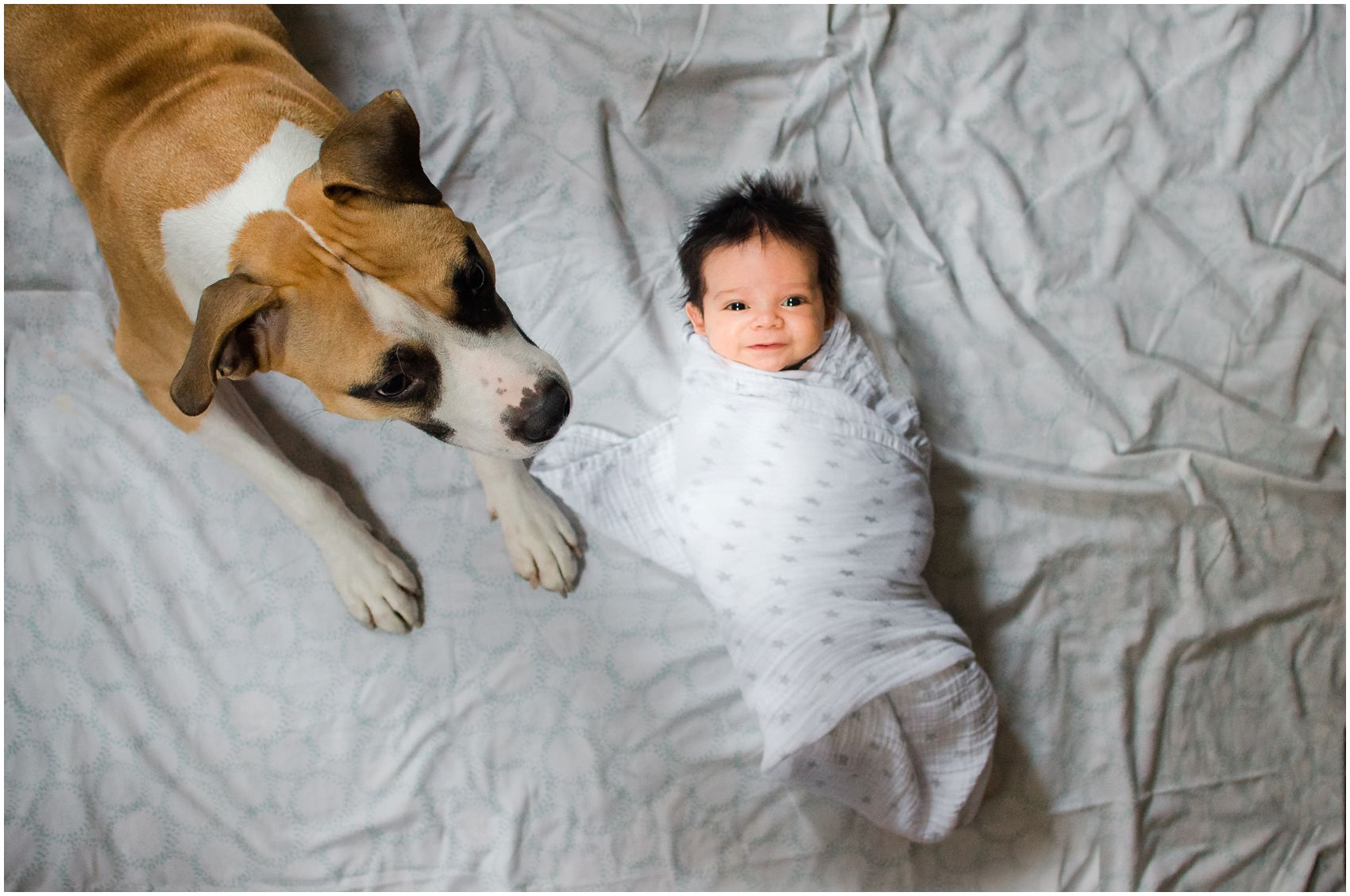 family dog with smiling and awake newborn baby laying on bed