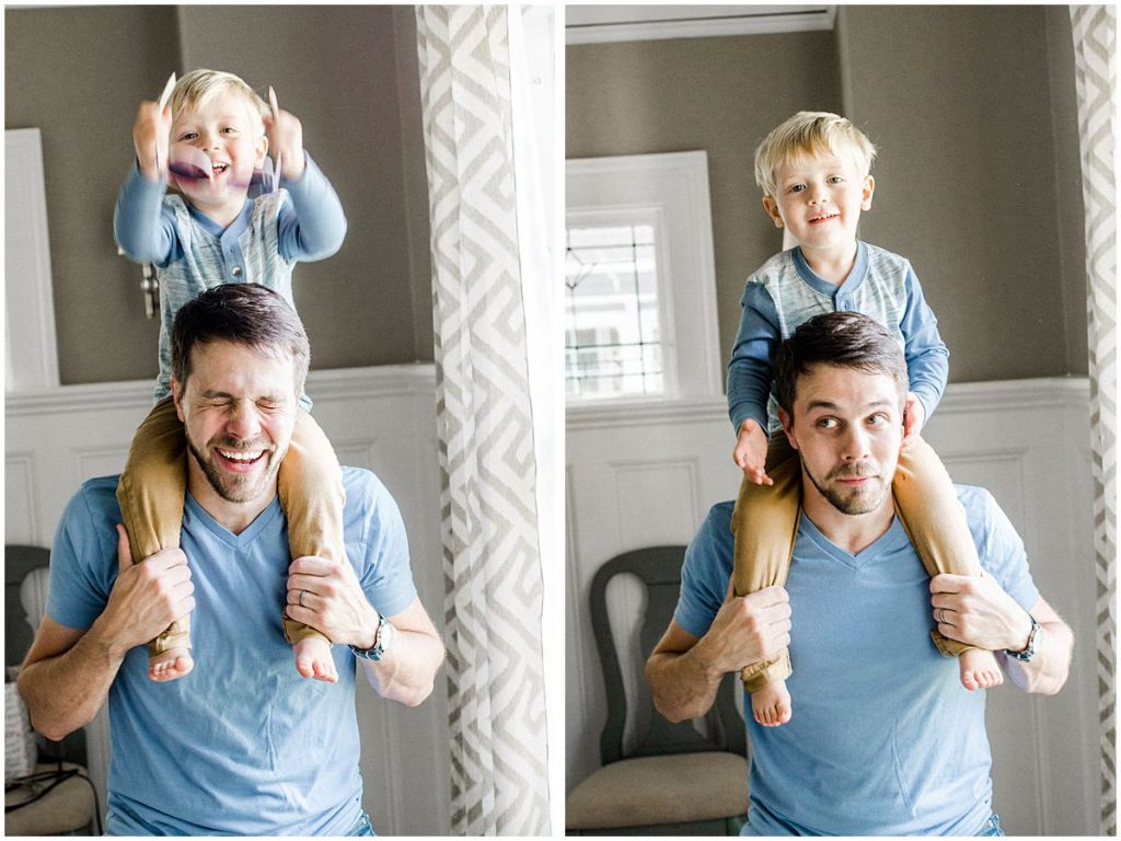 Family Photographer Miriam Dubinsky shares 5 gift ideas for Father's day in a photo of a laughing boy with his dad