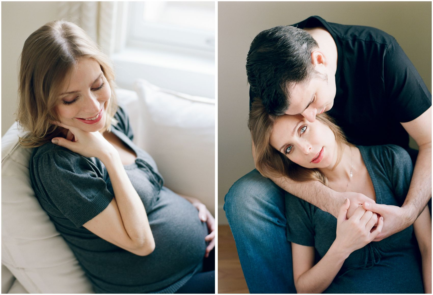 pregnant mom is smiling and cuddling with her husband at home