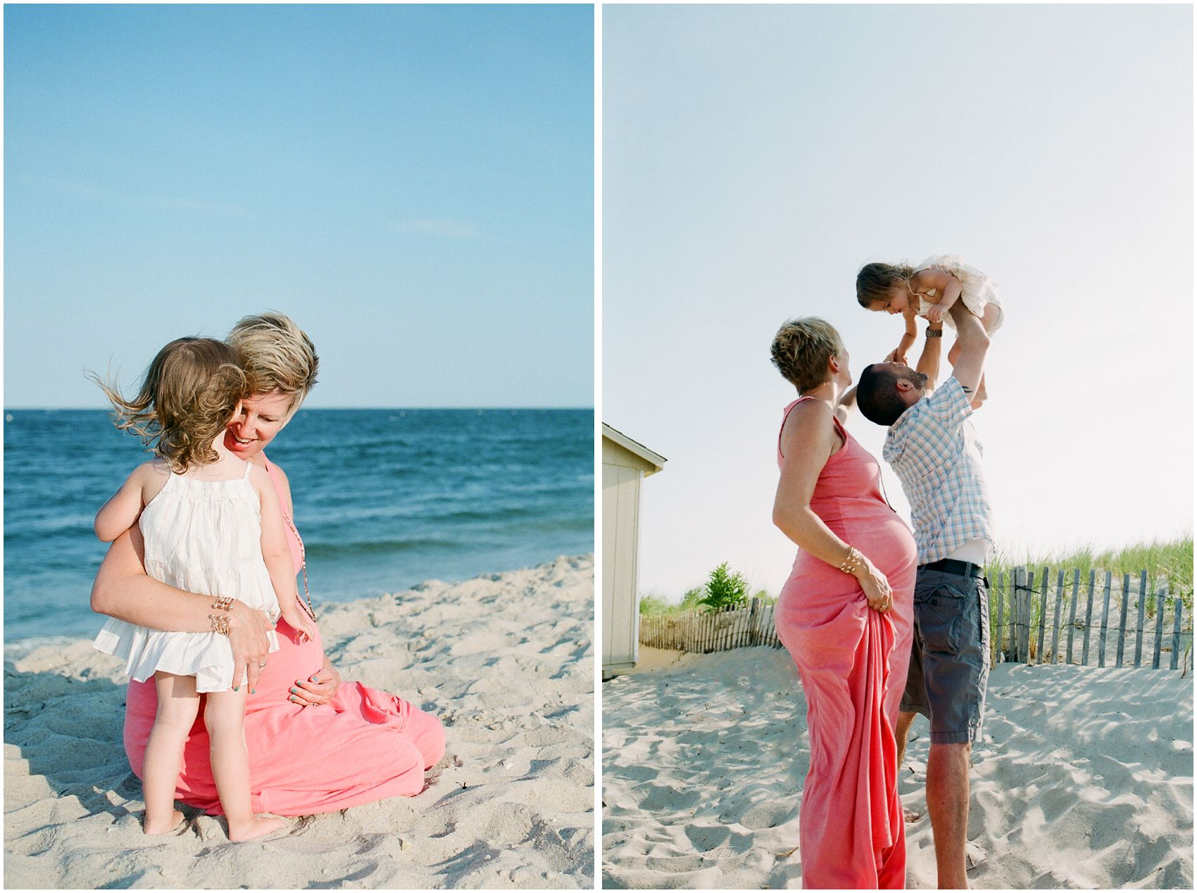 maternity photos at the beach with family and a toddler