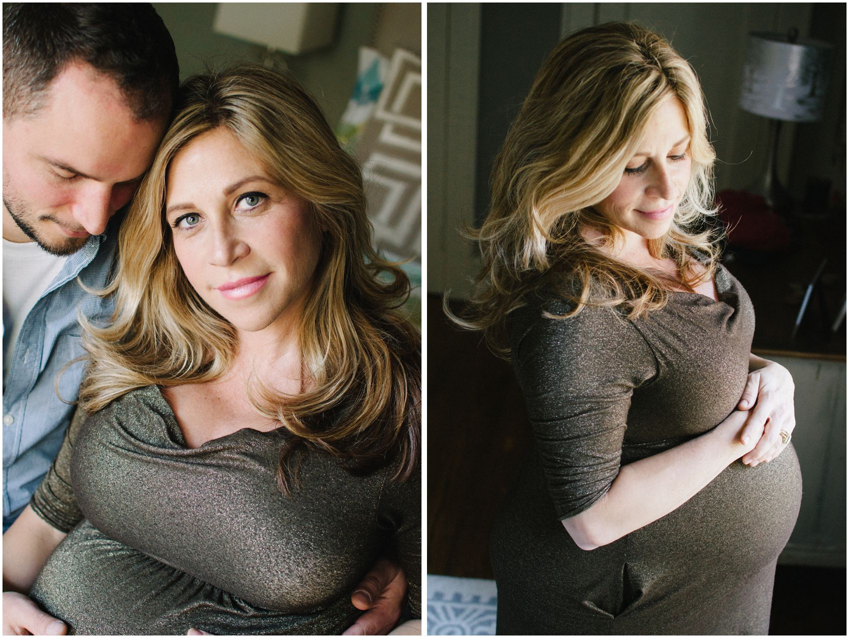 gorgeous mom posing for maternity photos with her husband