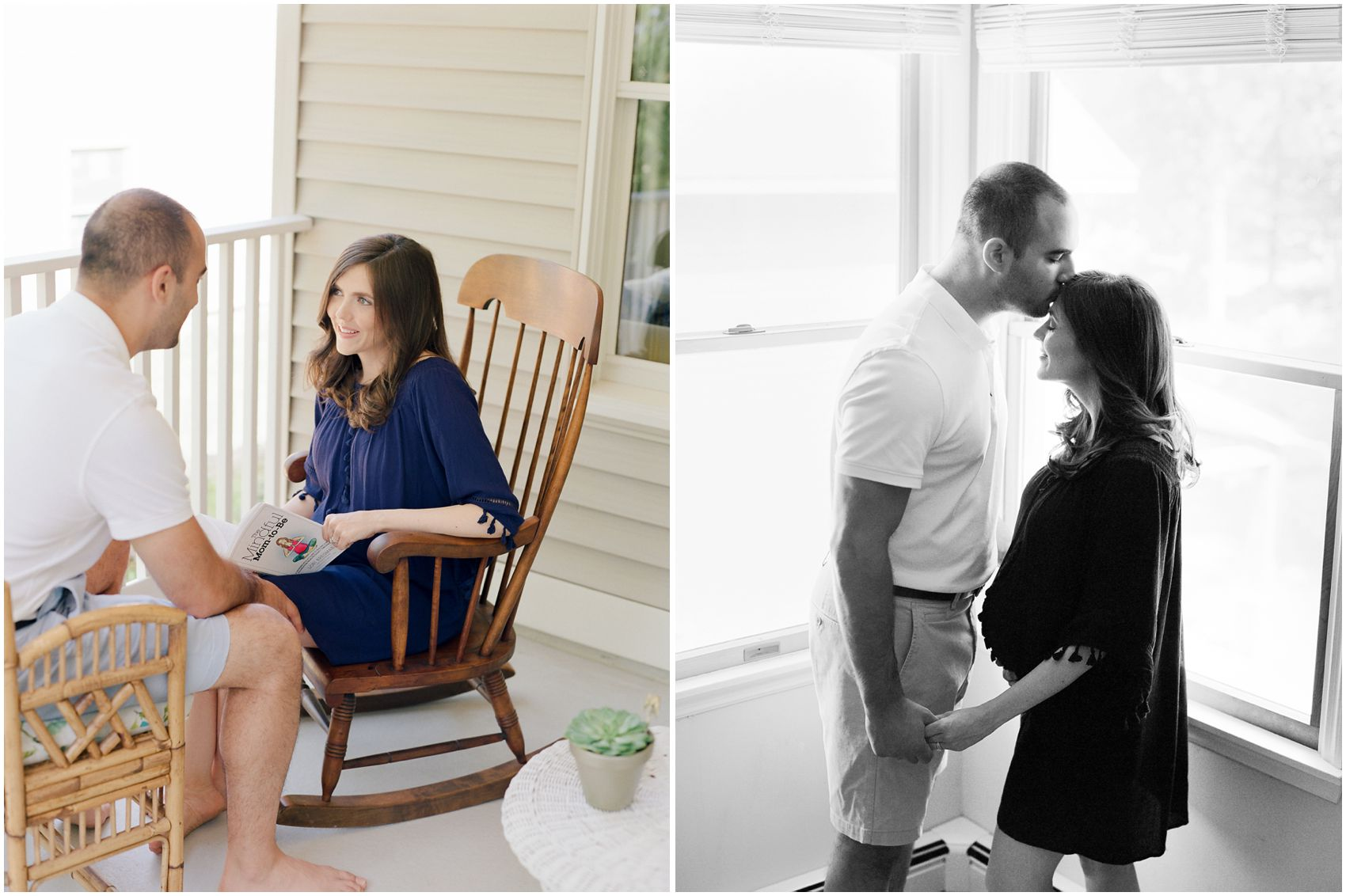 elegant maternity photos with intimate portrait of a pregnant couple sharing a moment