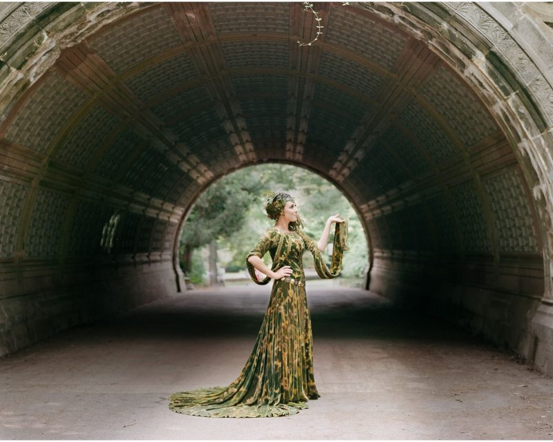 mom dressed up as nature goddess in prospect park