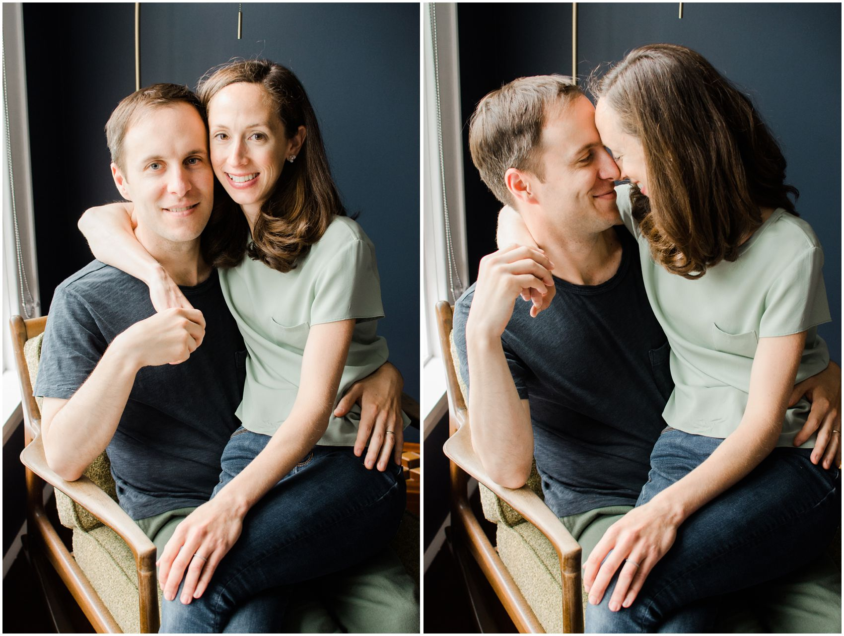 mom and dad snuggle for a portrait during the home family session in New York, NY