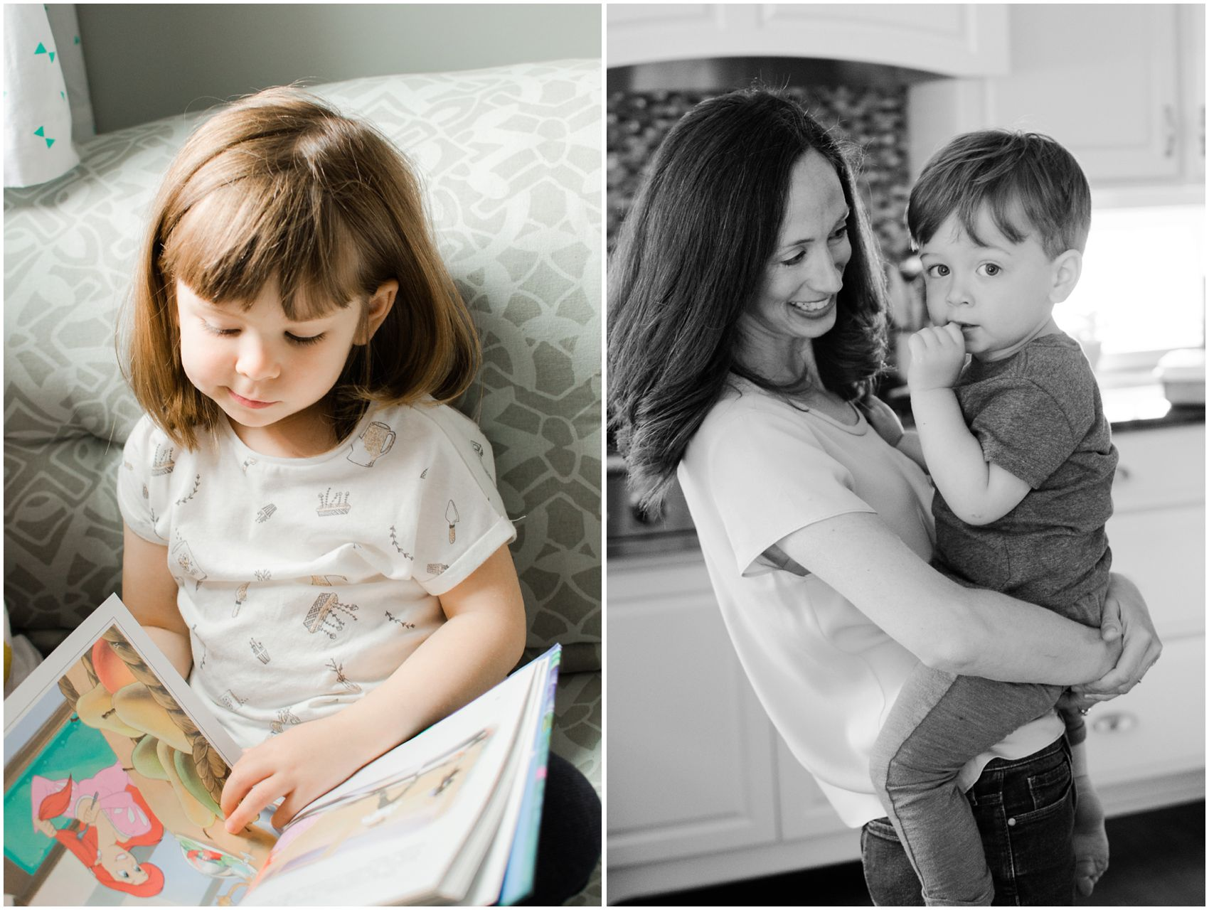 little girl is reading the book while a little boy is snuggled in  his moms arms