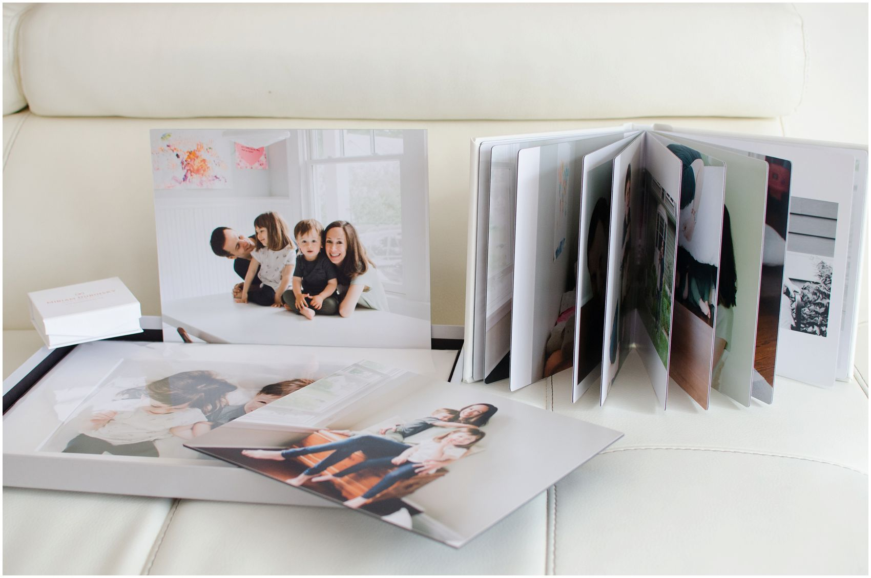 leather album and prints for a home family session