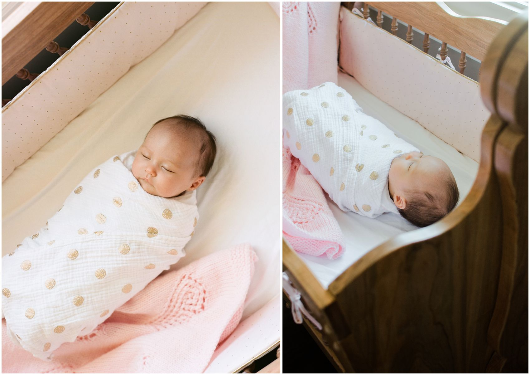 NYC Newborn Photographer Miriam Dubinsky shares how to incorporate personal items in portraits showing a baby girl sleeping in a handmade wooden crib