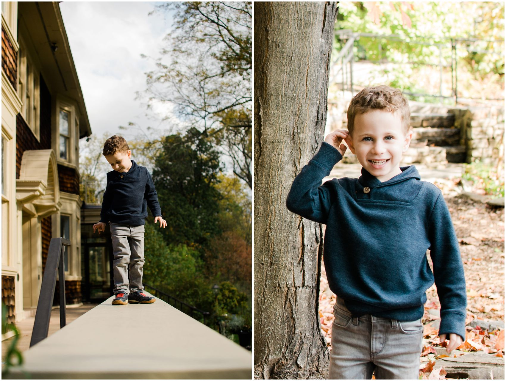 little boy wearing blue sweater and grey pants for his family portrait session