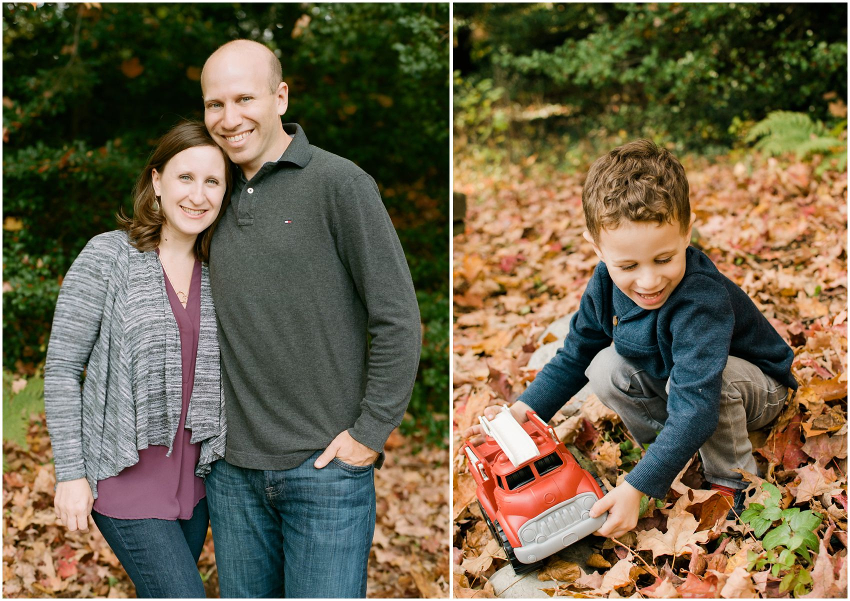 mom and dad pose for a portrait wearing maroon, grey and blue colors wile the little boy plays with firetruck