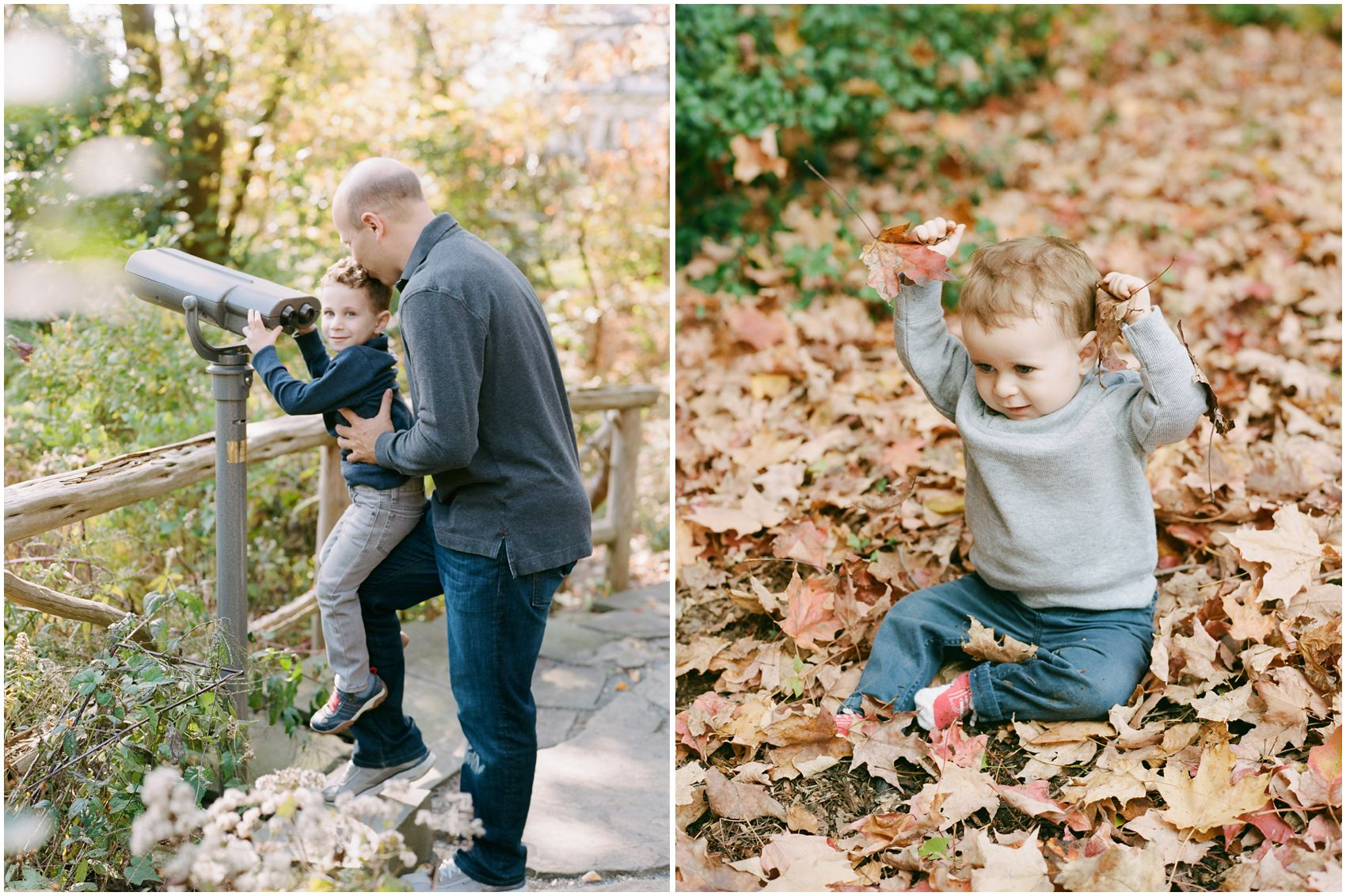 dad and son looking through telescope in the park and playing with fall leaves