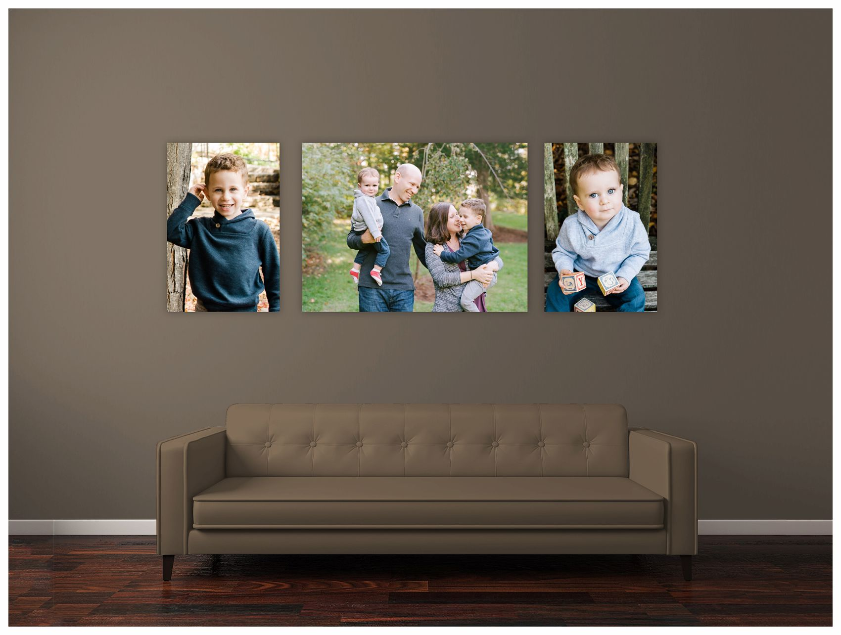 fall family portraits displayed in their living room
