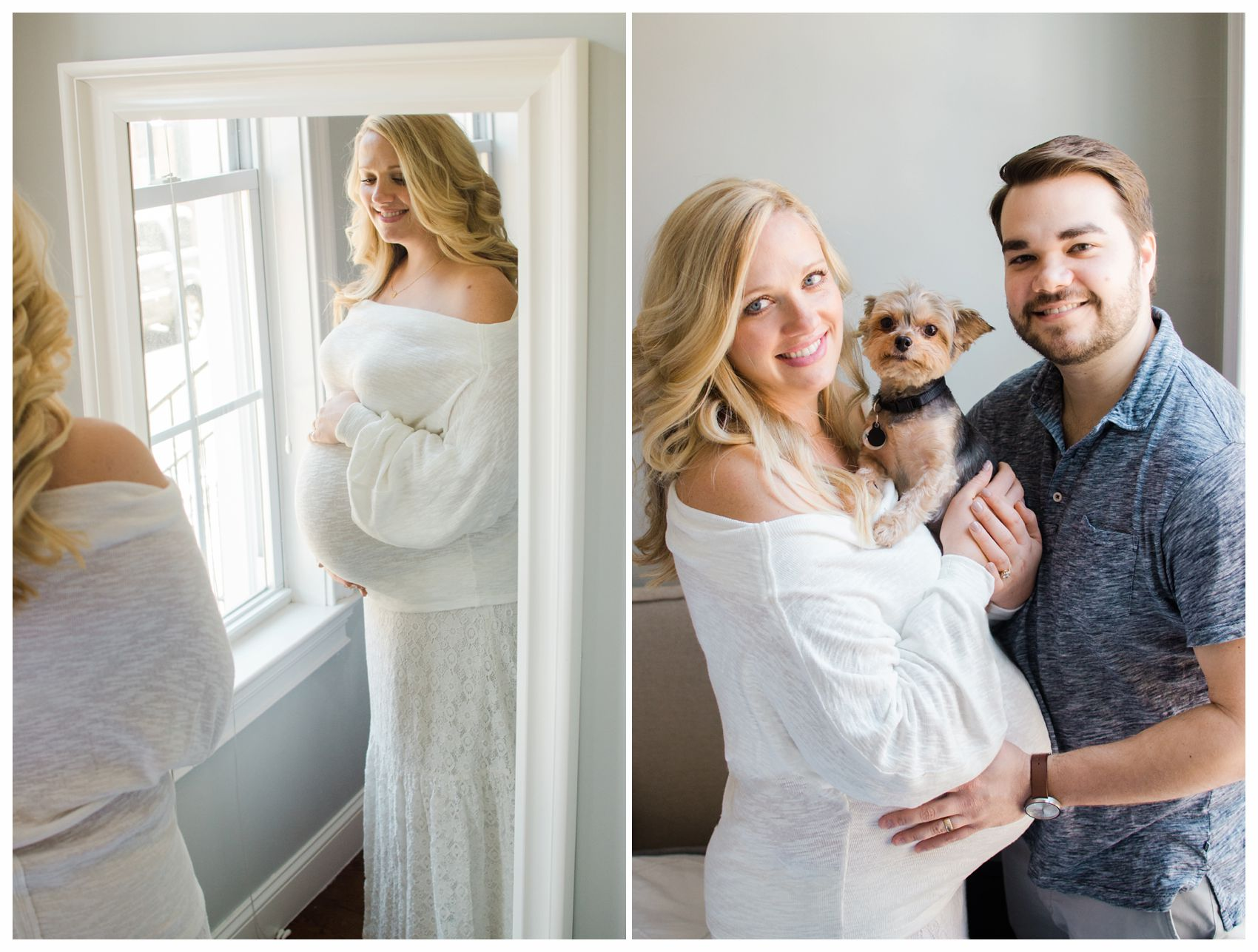 pregnant mom and dad are posing for family portrait with their dog