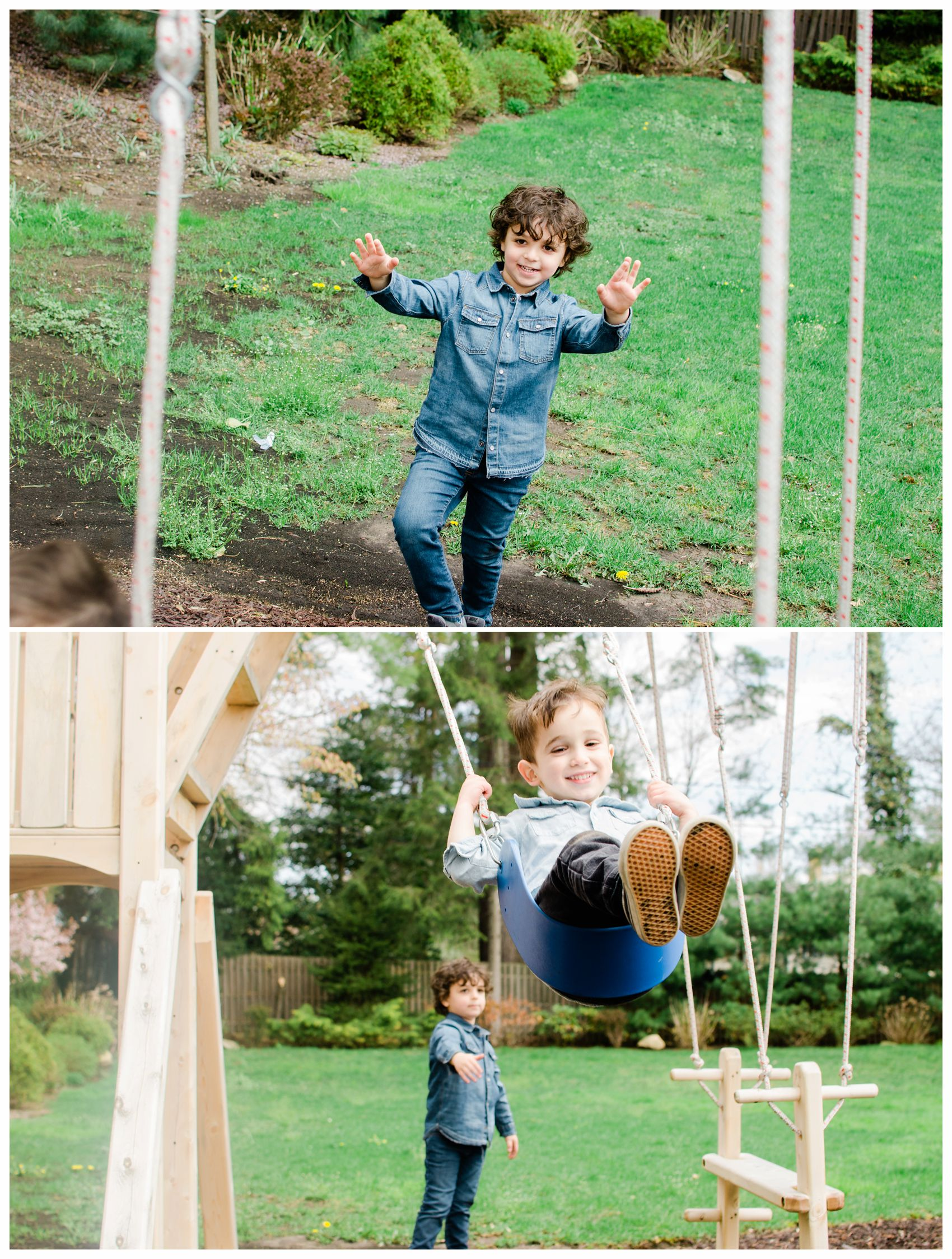 cousins and brothers are wearing denim and playing on swings in their backyard in Montclair NJ