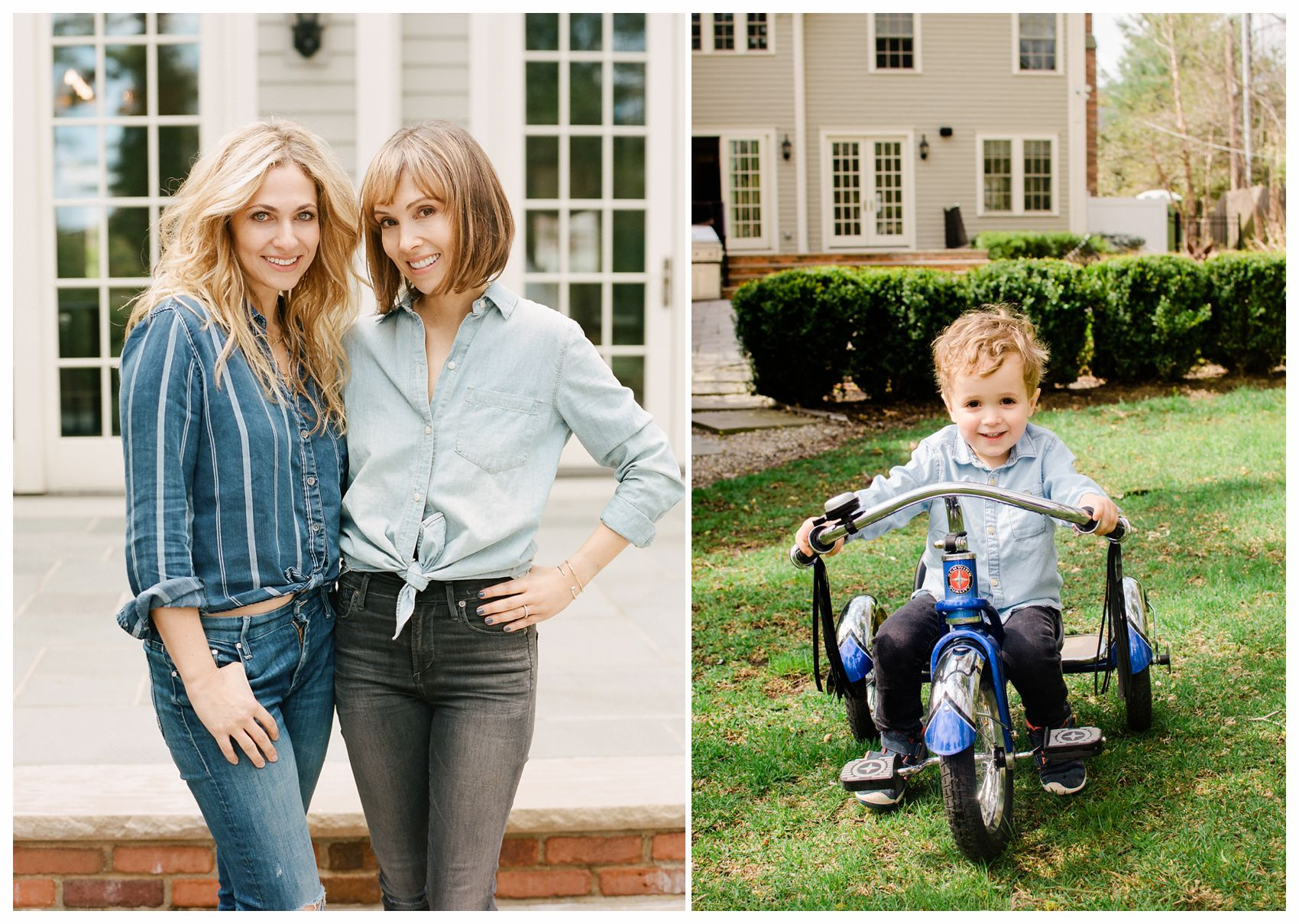 beautiful blond and brunette sisters with little boy on a tricycle posing for family portrait in NJ