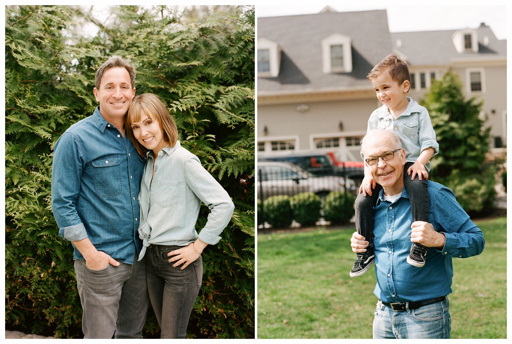 Best NYC Family Photographer Miriam Dubinsky is taking a photo of a happy grandfather is holding his cute grandson on the shoulders with mom and dad next to them in the garden