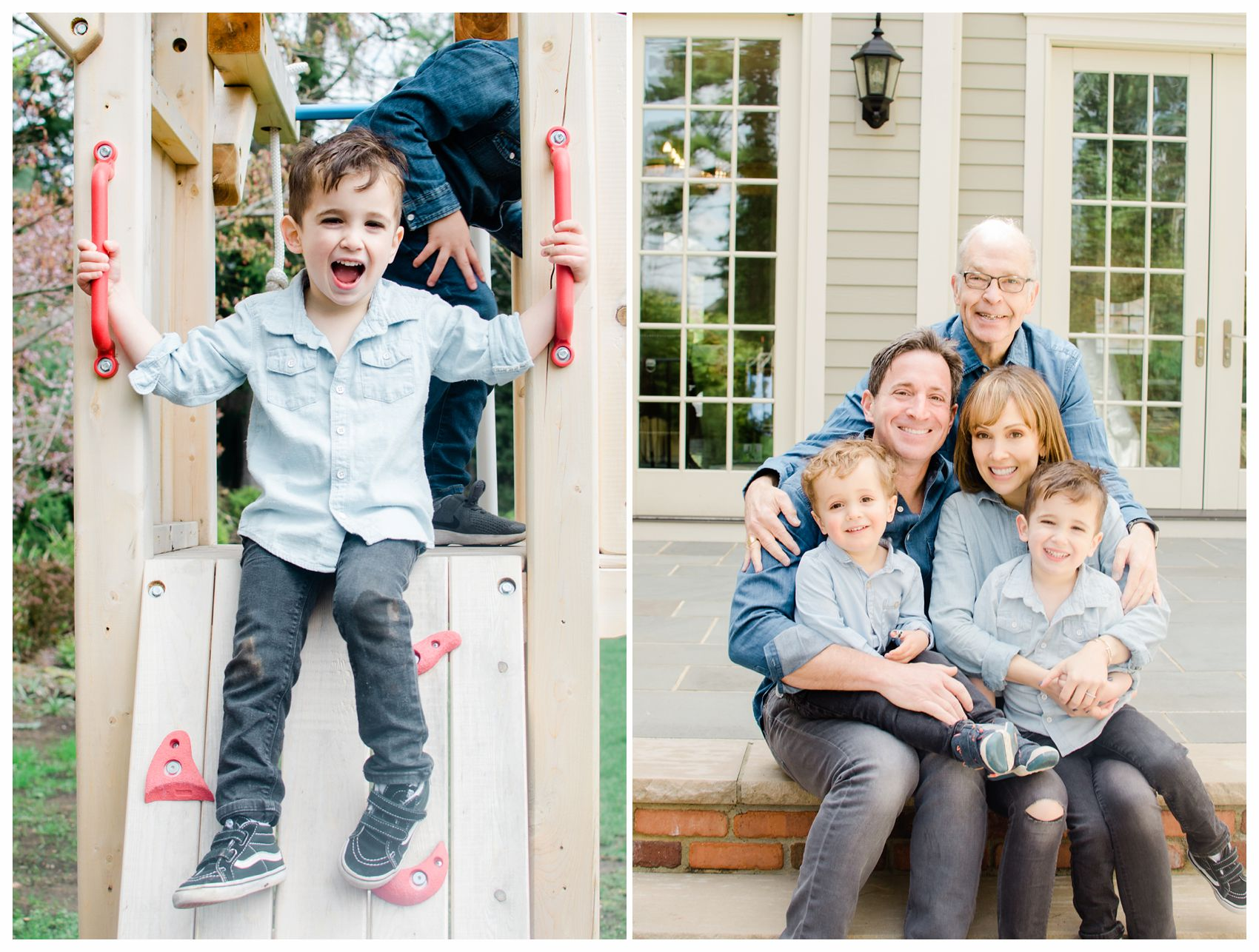 little boy having fun at the playground and family is sitting on the porch with grandfather in extended family session taken by NYC Family Photographer