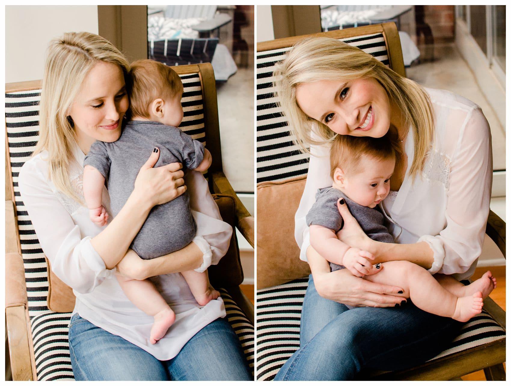 best newborn photographer taking photo of a blond mom hugging her 5 months old chubby baby boy in grey onesie in Hoboken NJ