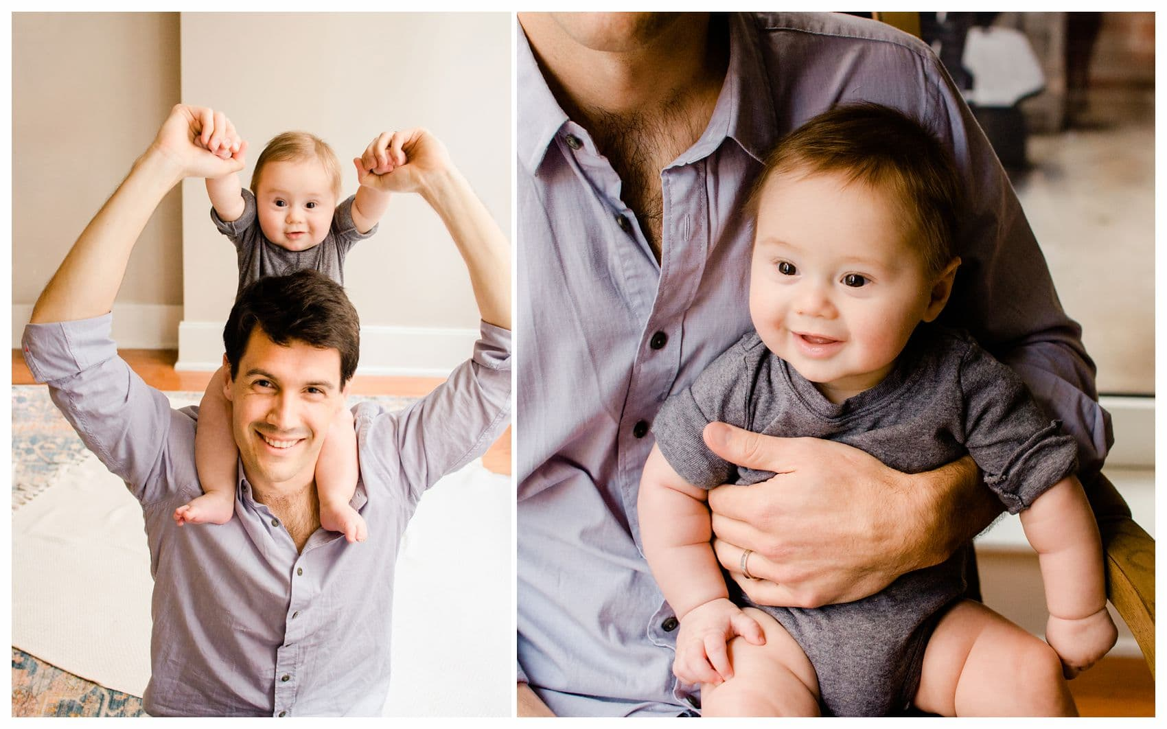 baby boy sitting on dad shoulders and smiling for Father's Day portrait