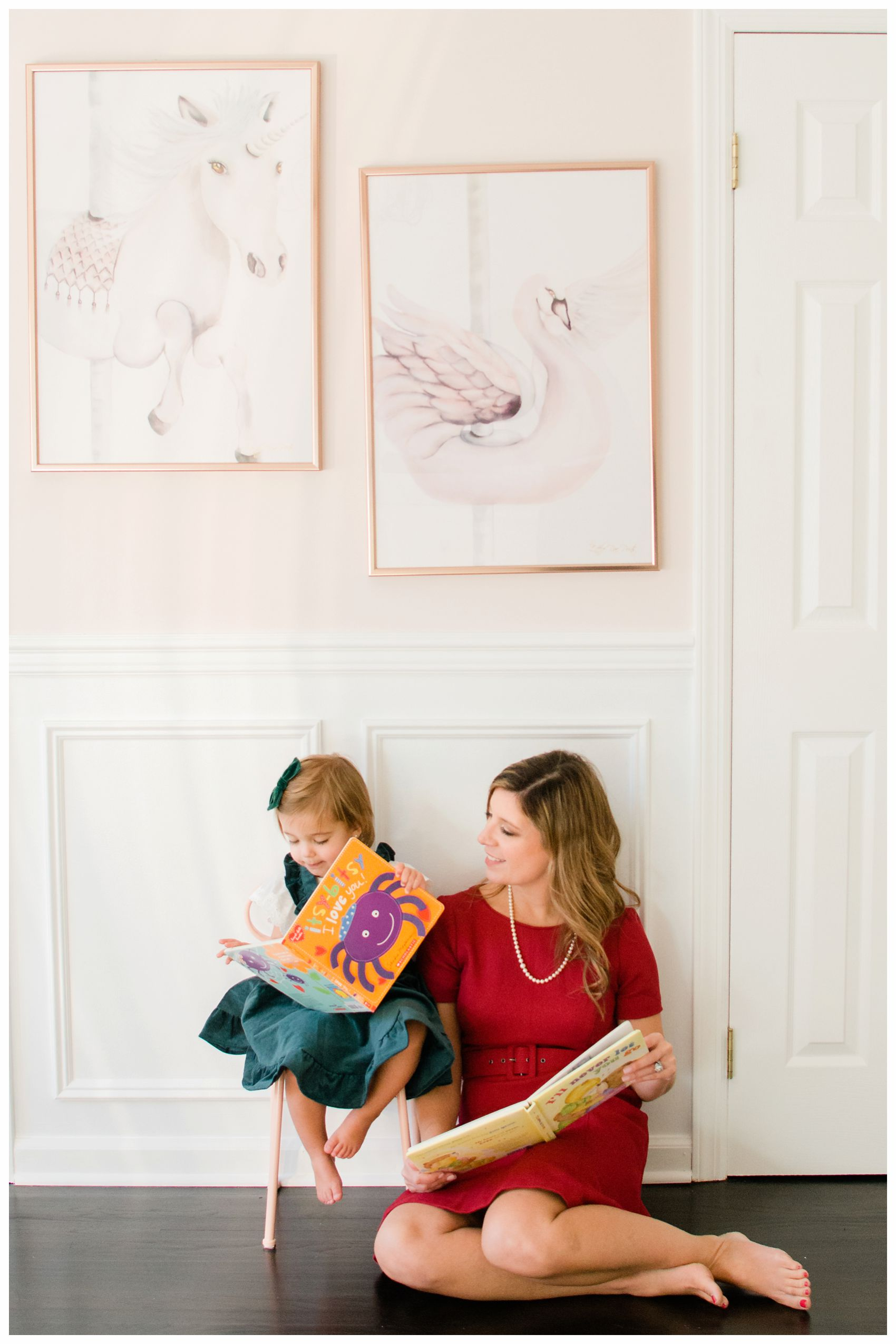 reading time for mom and little girl at their NJ home