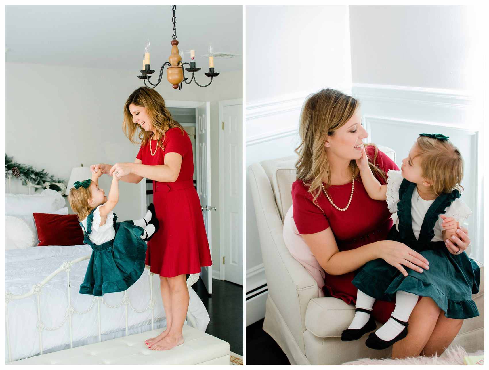 family holiday photo shoot at NJ home with mom and little girl