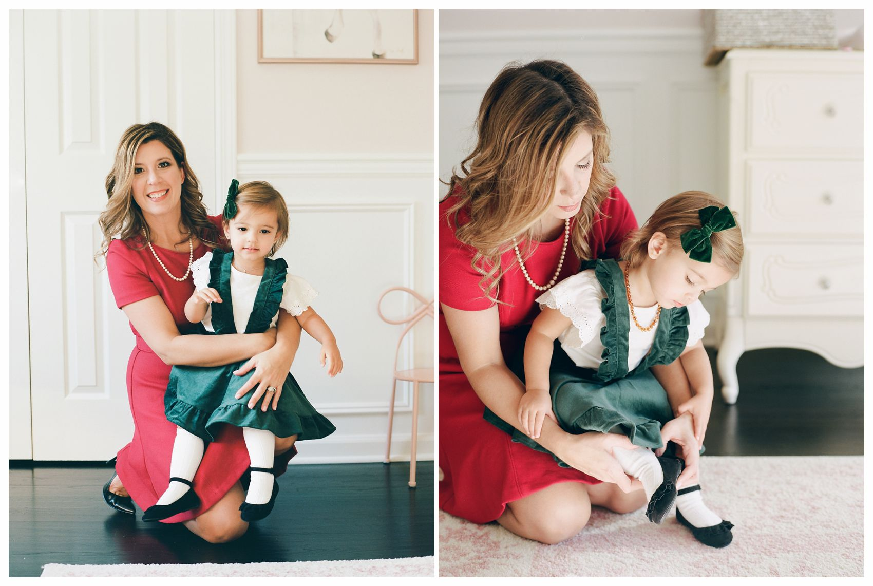 mom getting little girl dressed for family holiday photos