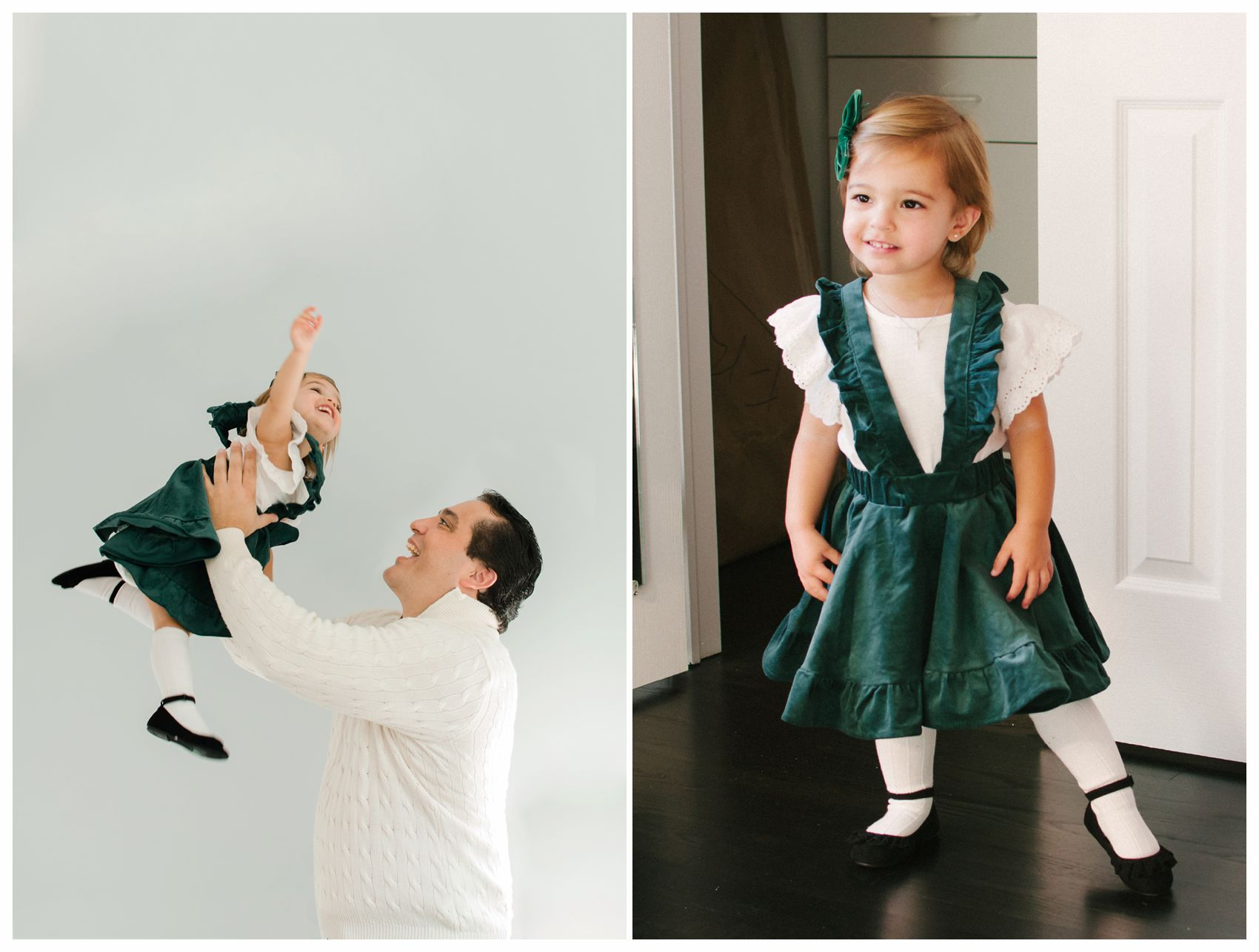 little girl is looking all grown up in her green holiday dress and playing airplane with dad