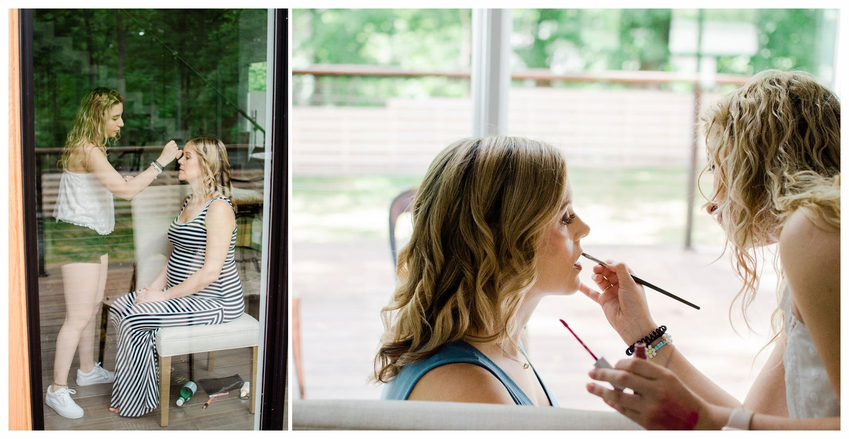 hair and make up at home before the maternity session